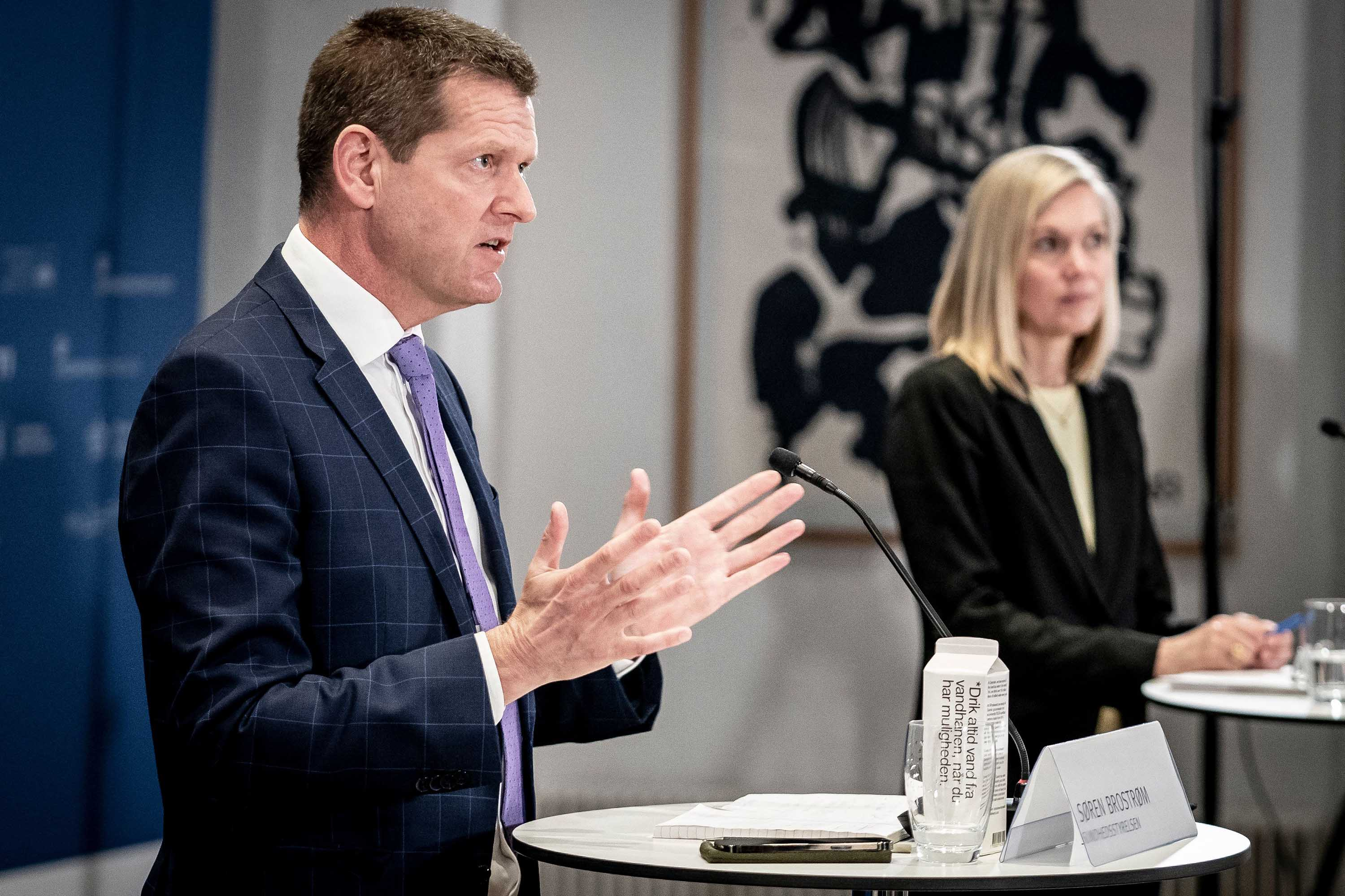 Søren Brostrøm, Director General of the Danish Health Authority, left, and Tanja Erichsen, from the Danish Medicins Agency, attend a press briefing about the status of the AstraZeneca Covid-19 vaccine in Copenhagen, Denmark, on March 25.