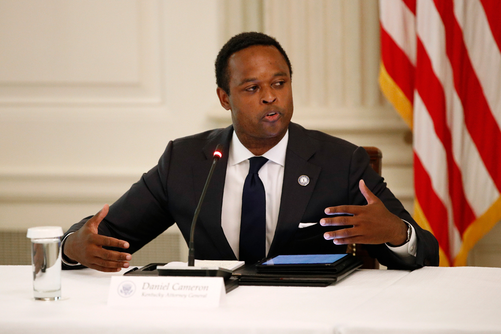 Kentucky Attorney General Daniel Cameron speaks during a roundtable discussion with US President Donald Trump and law enforcement officials on Monday, June 8, at the White House in Washington.