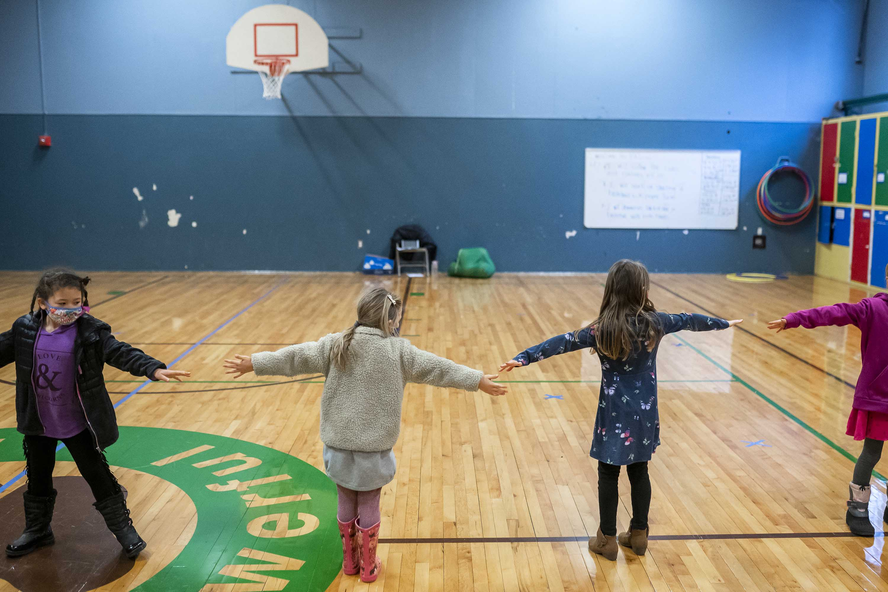 First grade students practice social distancing at the Green Mountain School in Woodland, Washington, on February 18.