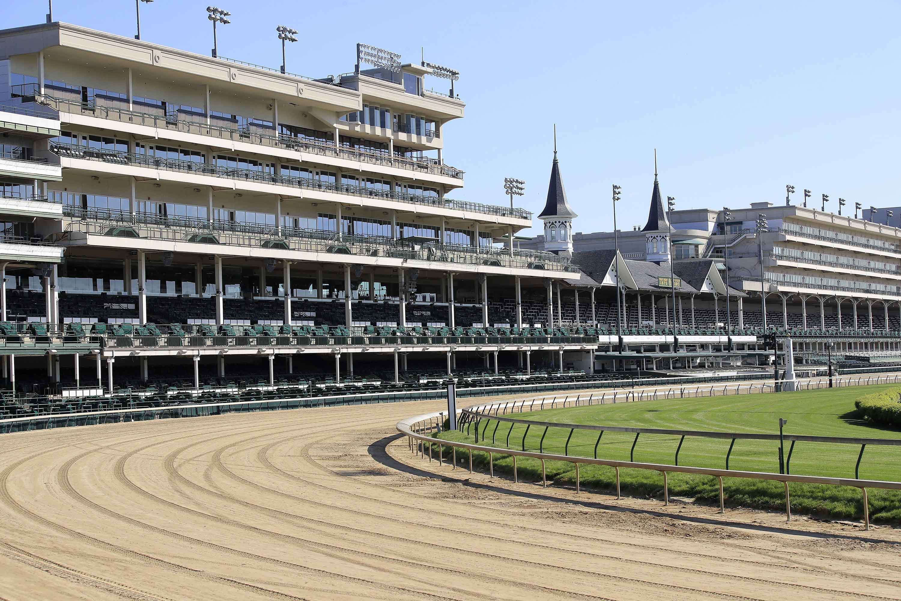 A view of the twin spires and empty grandstand at Churchill Downs  is seen on May 2, in Louisville, Kentucky.