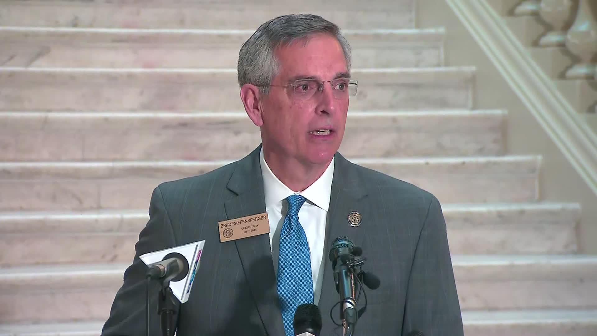 Georgia Secretary of State BradRaffensperger holds a press conference in Atlanta on October 14.