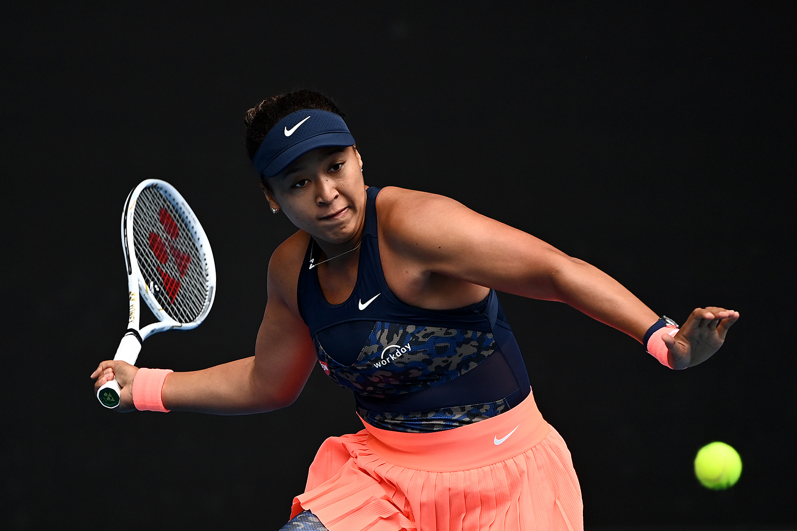 Naomi Osaka of Japan plays a forehand in her women's singles first round match against Anastasia Pavlyuchenkova of Russia during day one of the 2021 Australian Open, on February 8.