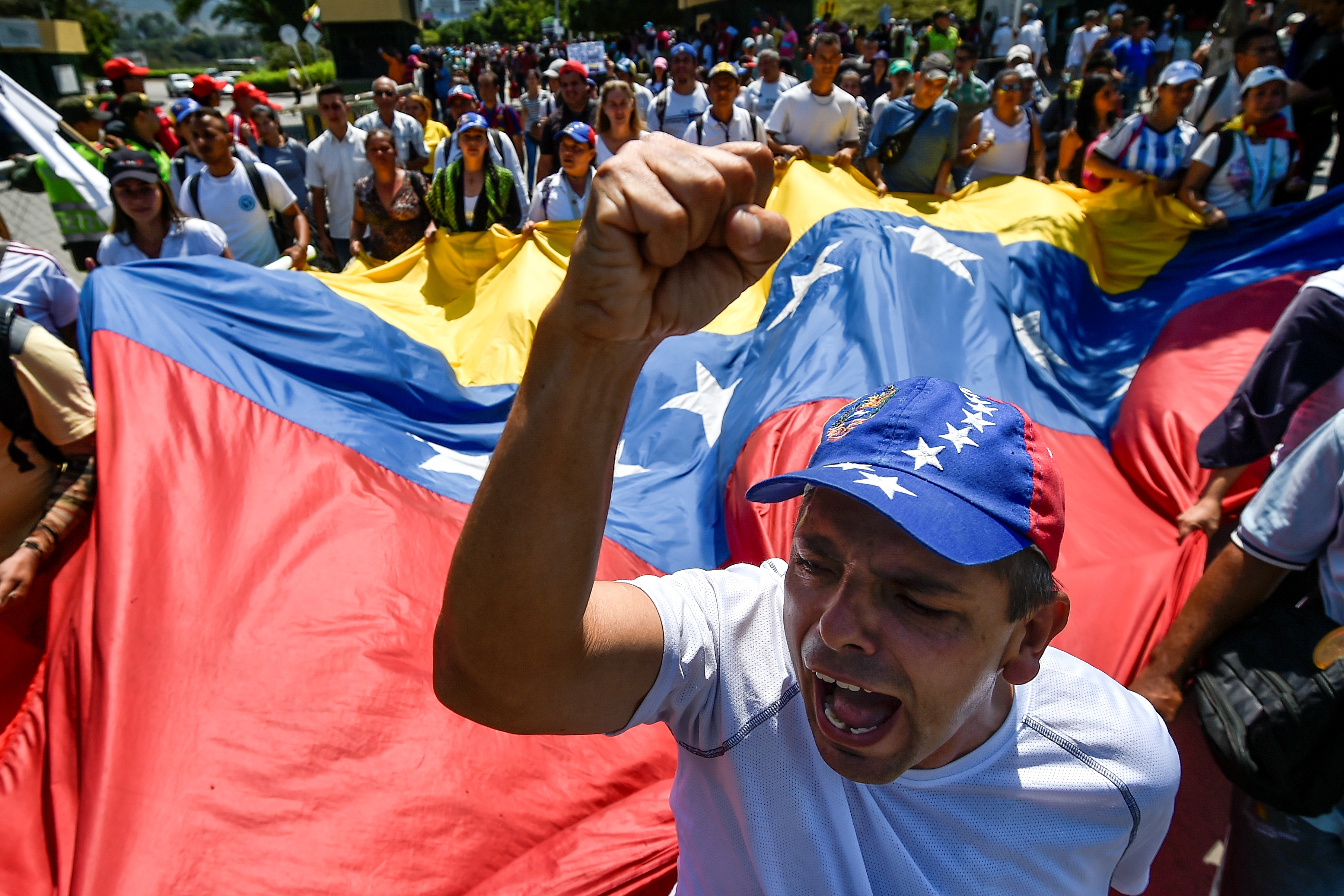 Venezuelans take part in a protest against the government of President Nicolas Maduro on Feb. 15.