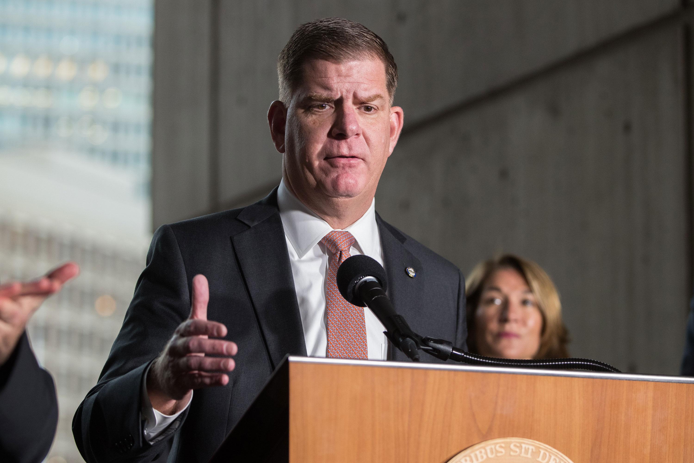 Boston Mayor Marty Walshspeaks on March 13.