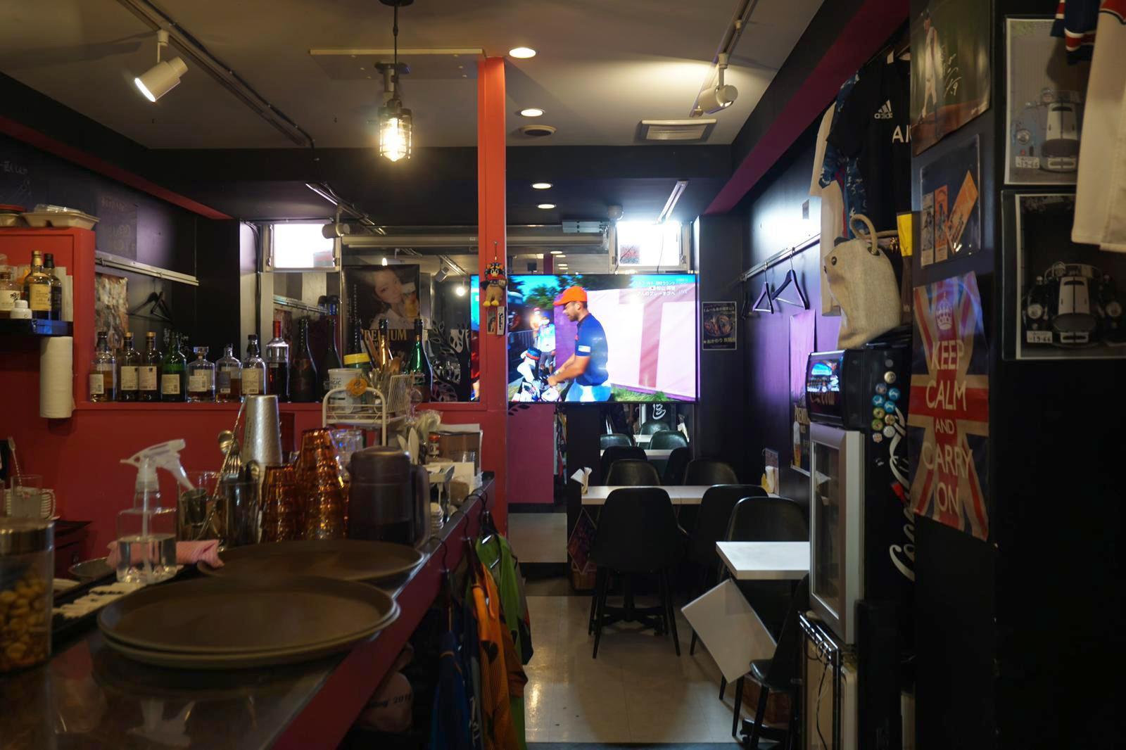 A sports bar near Tokyo's Olympic Stadium sits empty on Sunday.