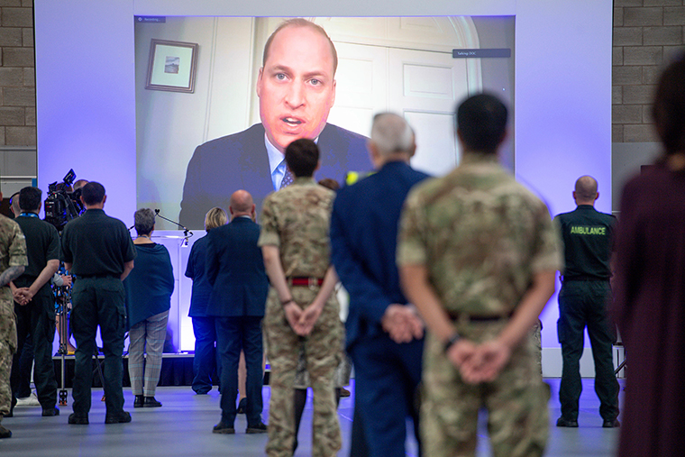Britain's Prince William speaks via videolink as he officially opens the NHS Nightingale Hospital Birmingham, in the National Exhibition Centre (NEC), England, Thursday, April 16. T
