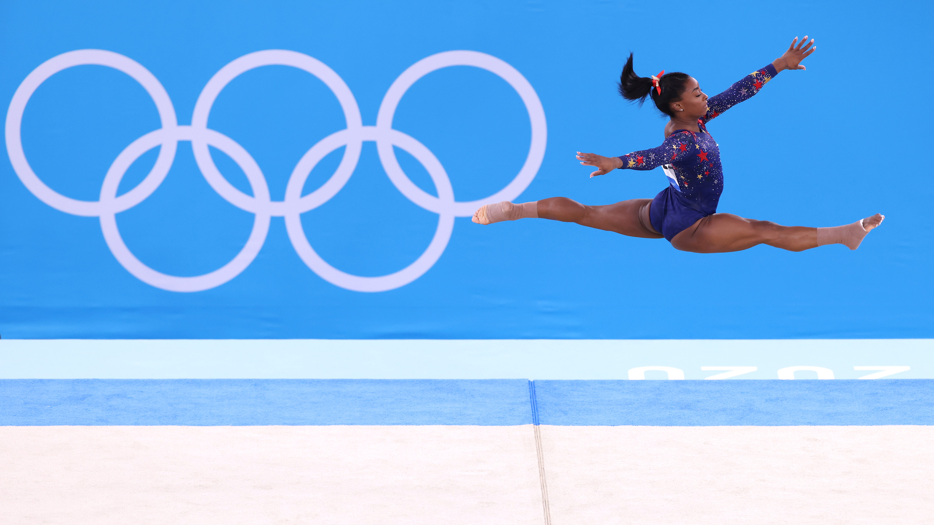 Simone Biles of Team United States competes in the floor exercise during qualification on July 25.