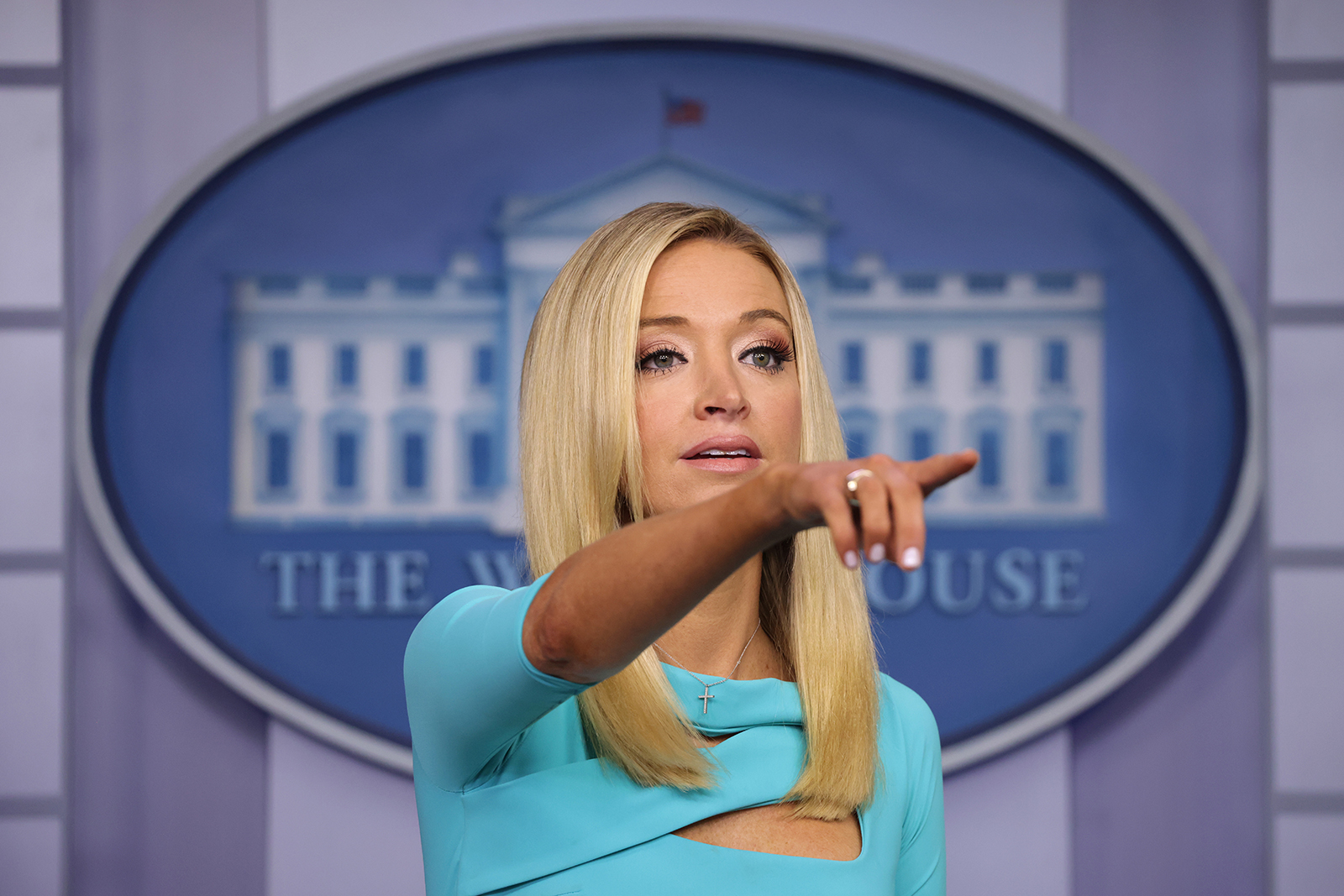 White House Press Secretary Kayleigh McEnany holds a news conference at the James Brady Press Briefing Room of the White House on Wednesday in Washington.