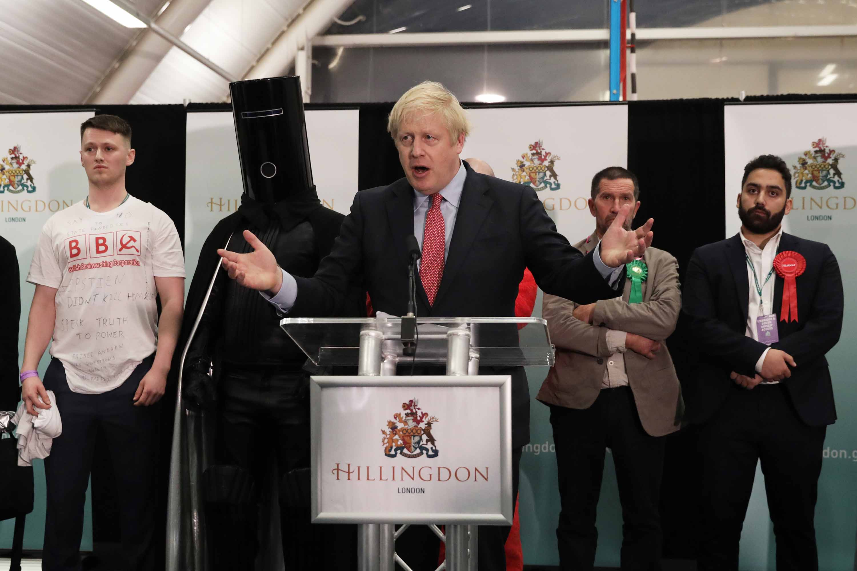Prime Minister Boris Johnson speaks at the vote declaration for his Uxbridge and South Ruislip constituency on Friday. Photo: Dan Kitwood/Getty Images