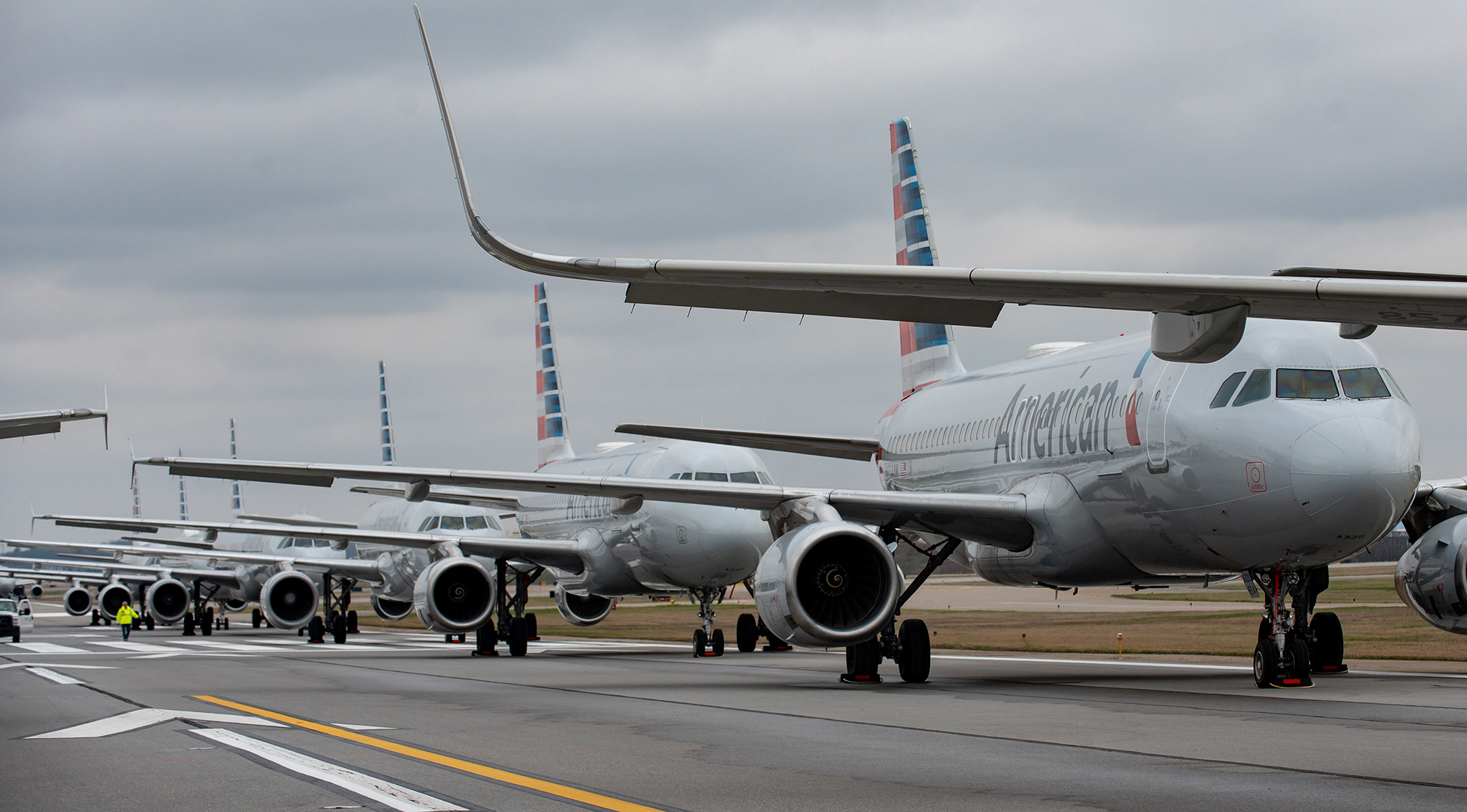 Jets are parked on runway 28 at the Pittsburgh International Airport on March 27, in Pittsburgh, Pennsylvania.