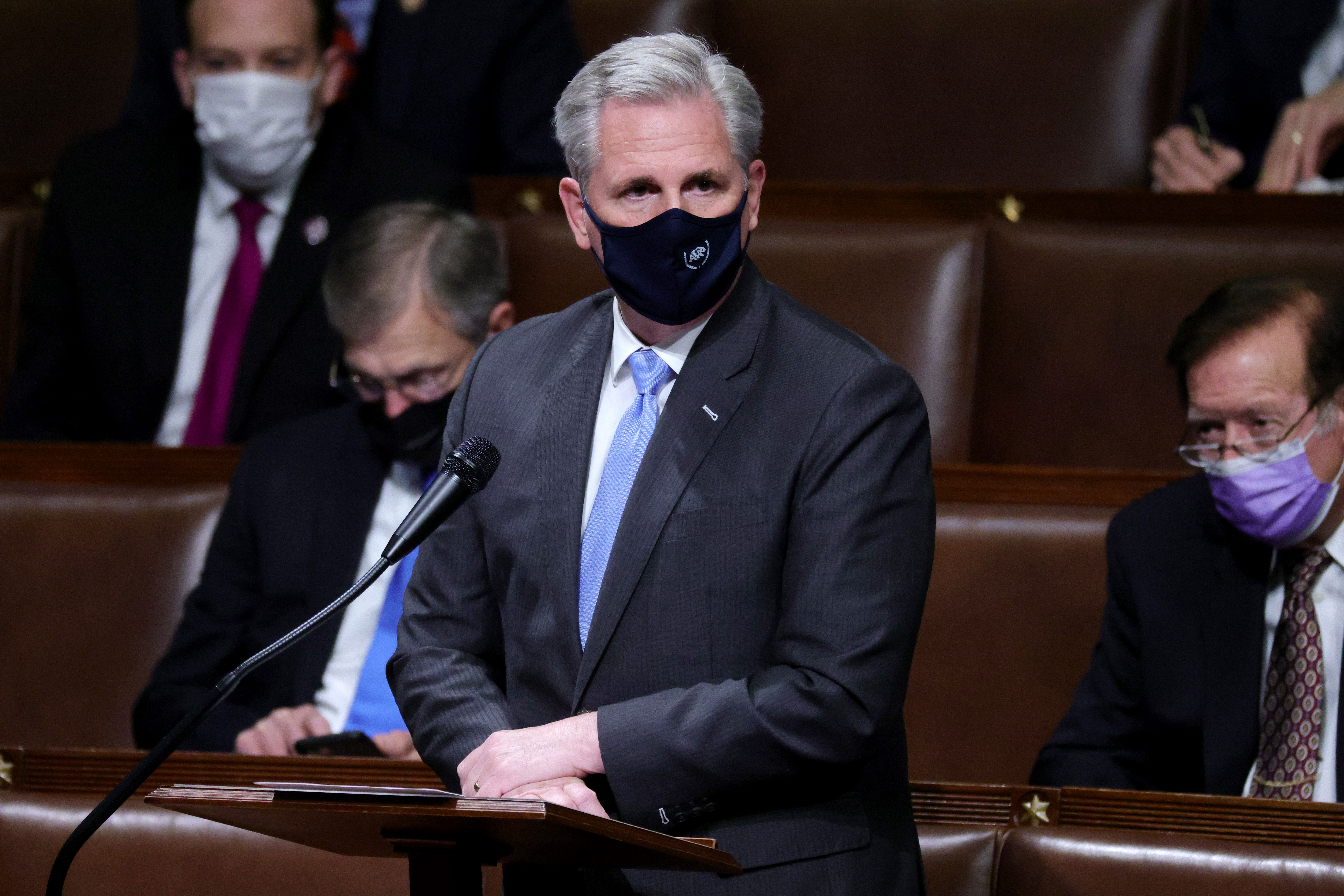House Republican leader Kevin McCarthy speaks in the House Chamber on January 6.