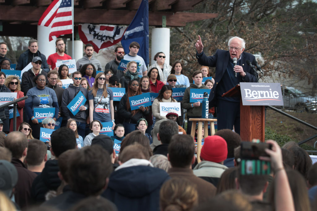 Democratic presidential candidate Sen. Bernie Sanders speaks to guests during a campaign rally at Finlay Park on February 28, 2020 in Columbia, South Carolina.