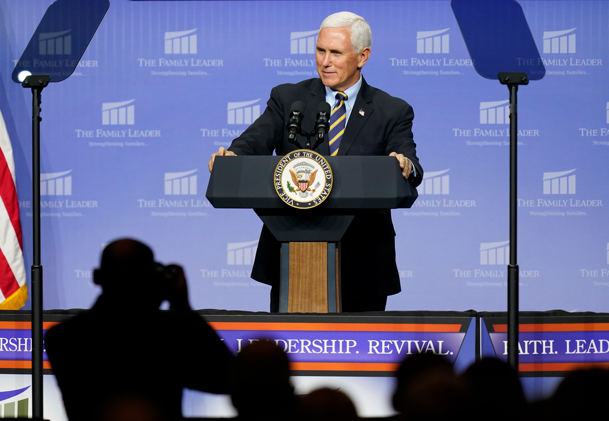 Vice President Mike Pence speaks at an event hosted by The Family Leader Foundation on October 1 in Des Moines, Iowa.