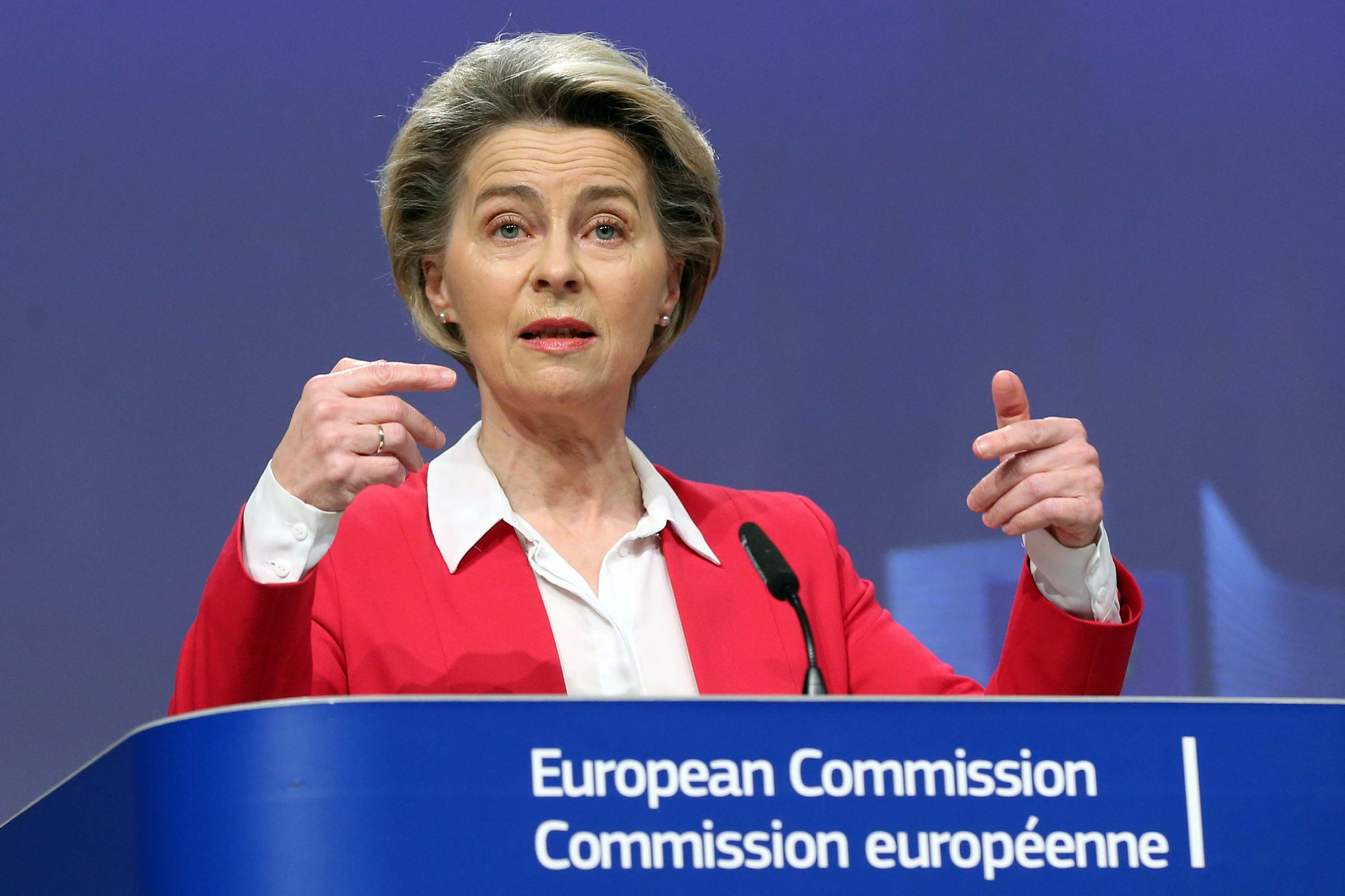 European Commission President Ursula Von Der Leyen gives a presser on vaccine strategy, on January 8 in Brussels.