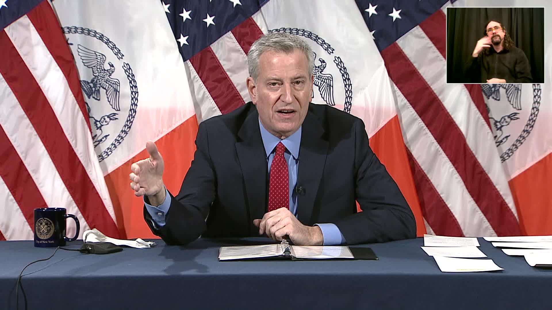 New York City Mayor Bill de Blasio speaks during a press briefing in New York on January 8.