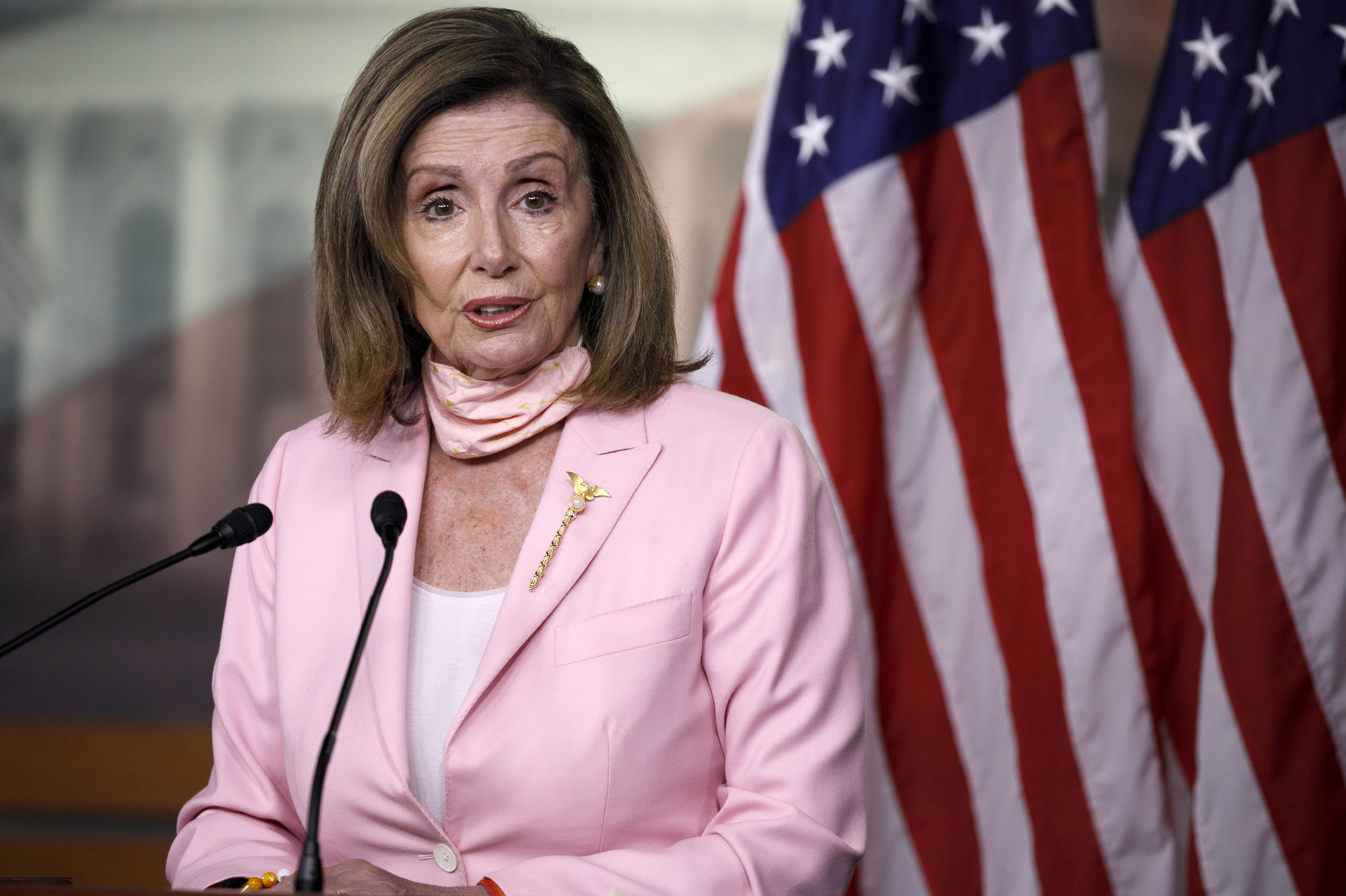 House Speaker Nancy Pelosi speaks during a news conference in Washington, DC, on July 9.