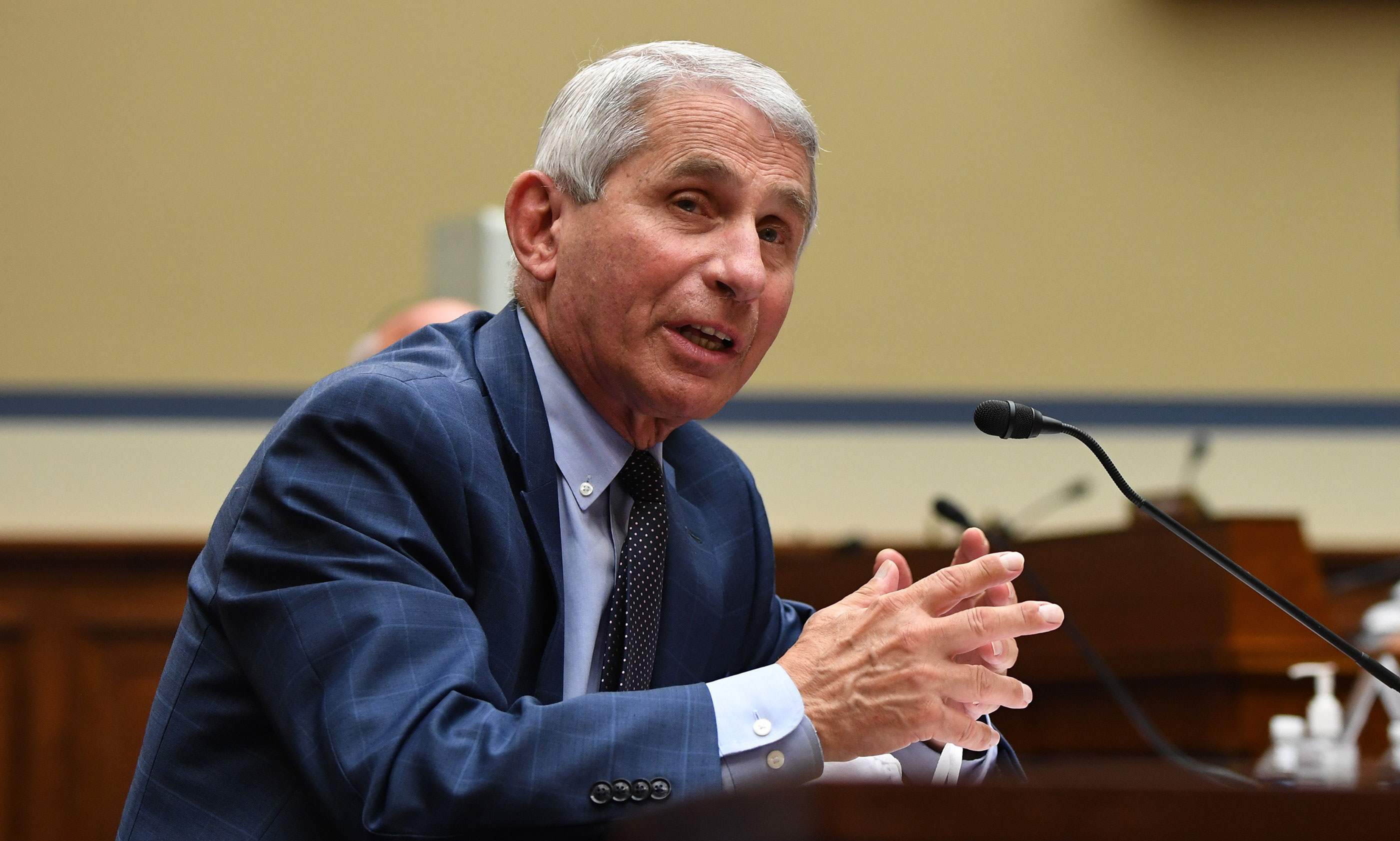 Dr. Anthony Fauci, director of the National Institute for Allergy and Infectious Diseases, testifies during a House Subcommittee on the Coronavirus Crisis hearing on July 31 in Washington, DC.