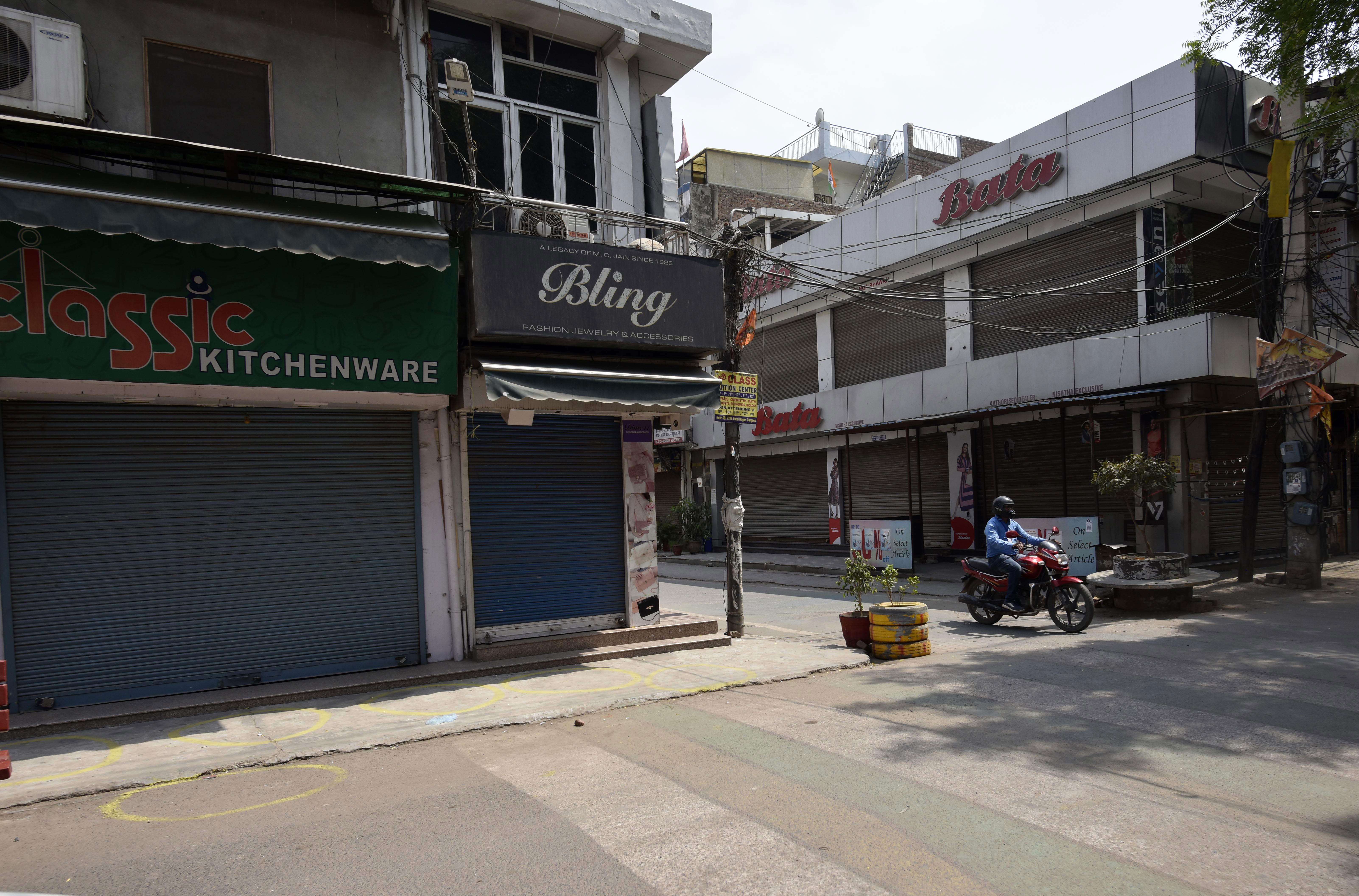 Sadar Bazar is near-empty during a weekend lockdown in Gurugram, India, on May 1.