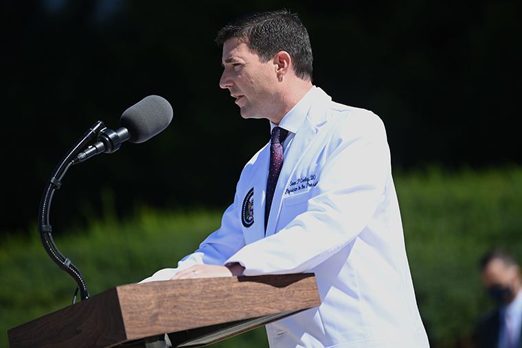 White House physician Sean Conley answers questions during an update on the condition of US President Donald Trump, on October 3, 2020, at Walter Reed Medical Center in Bethesda, Maryland.