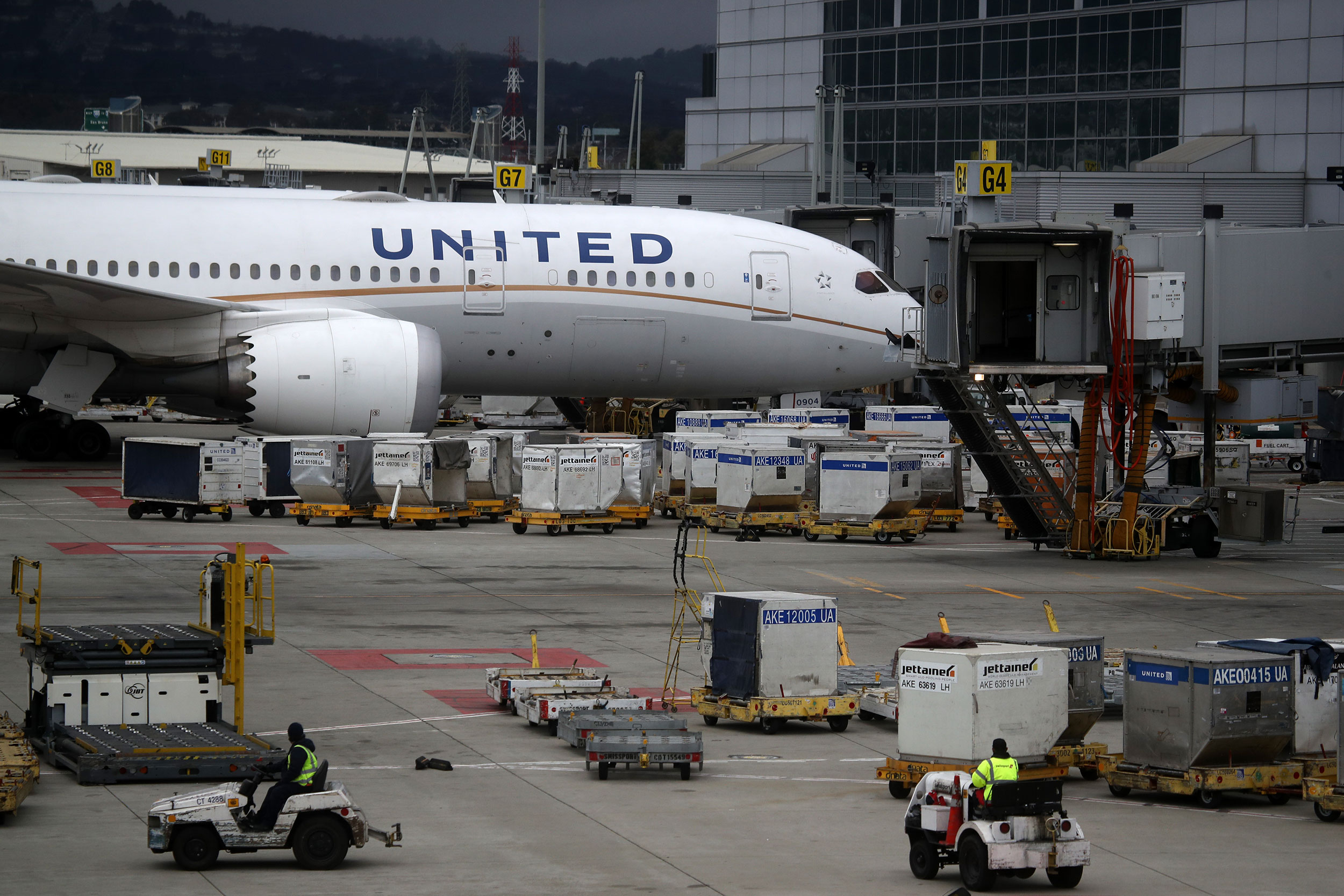 A United Airlines plane sits parked at a gate at San Francisco International Airport on March 6 in California.