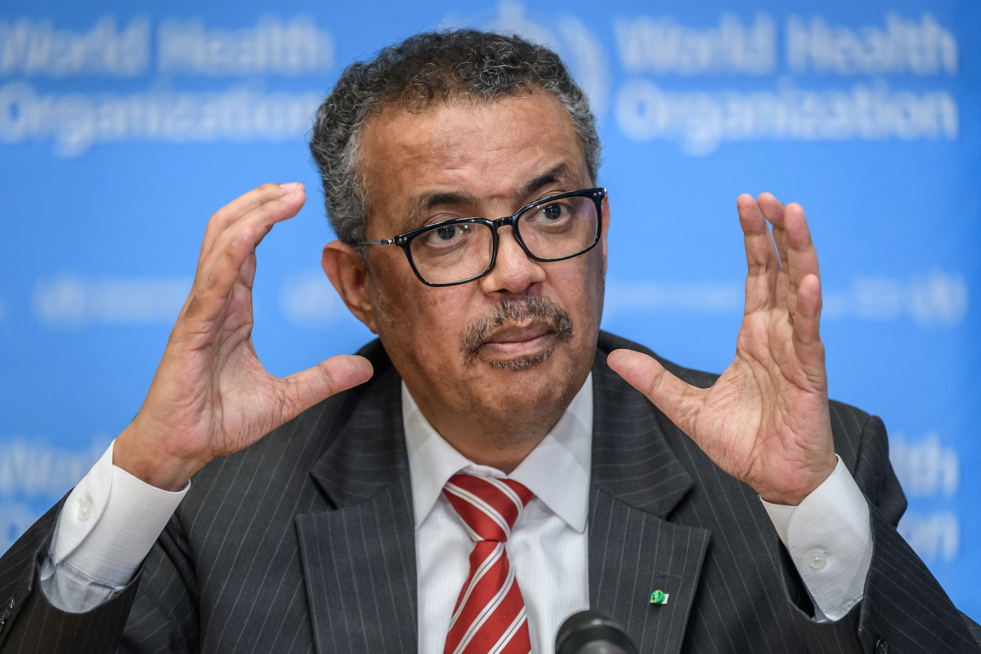 World Health Organization Director-General Tedros Adhanom Ghebreyesus talks during a daily press briefing on COVID-19 virus at the WHO headquarters in Geneva, Switzerland, on March 11.