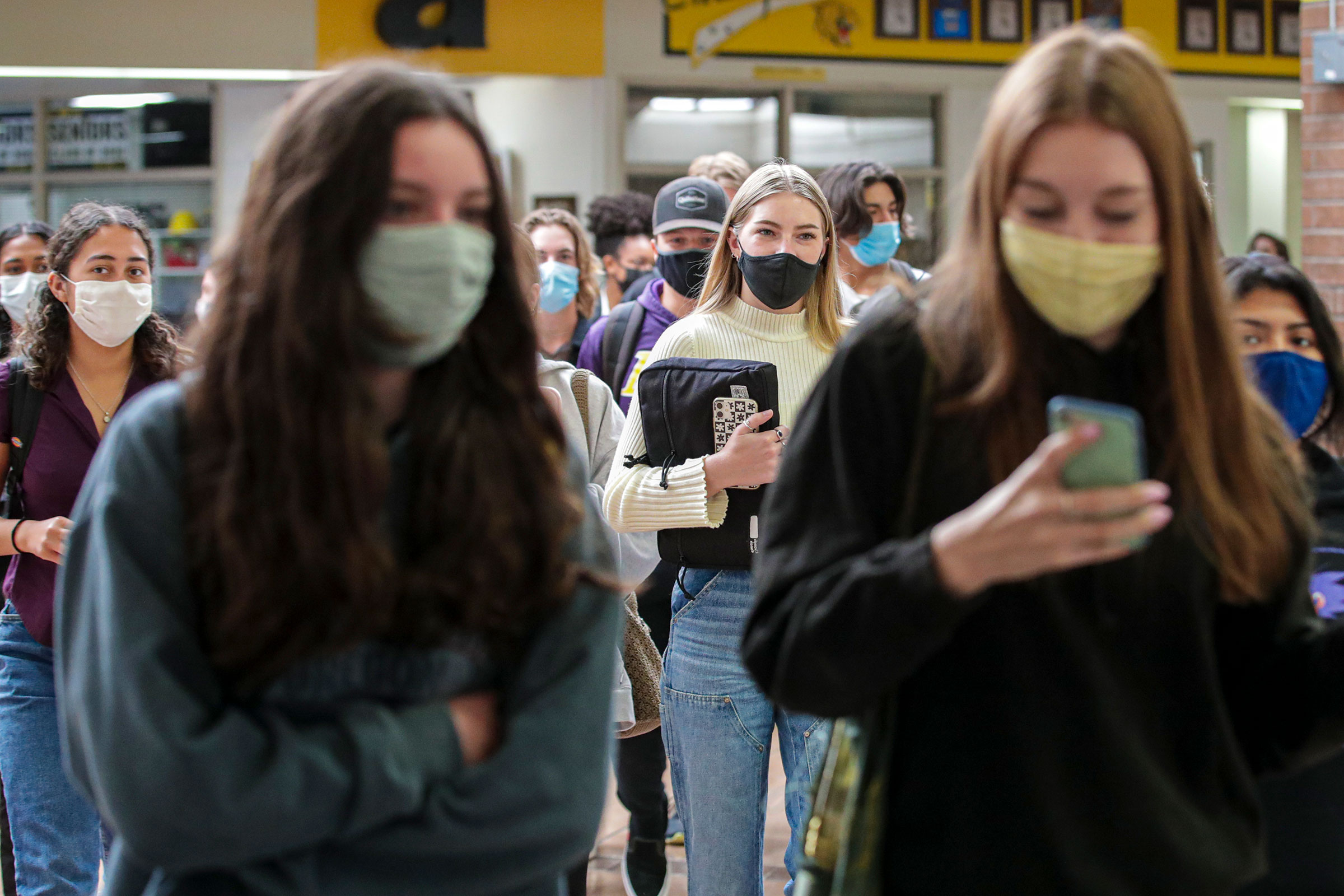 Students at a high school in Mission Viejo, California, on April 27.