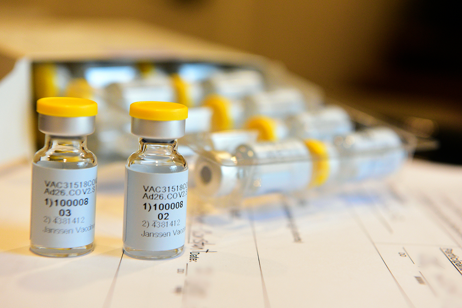 A single-dose COVID-19 vaccine being developed by Johnson & Johnson is seen in September.