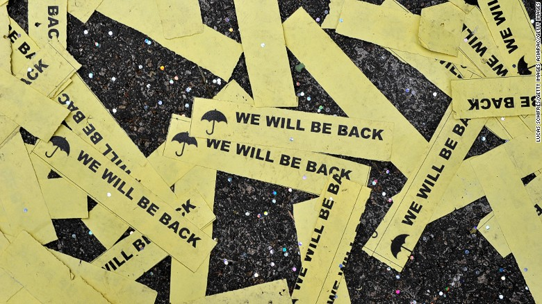 Hong Kong protesters promised to return after the last Umbrella Movement activists left the streets in December 2014.