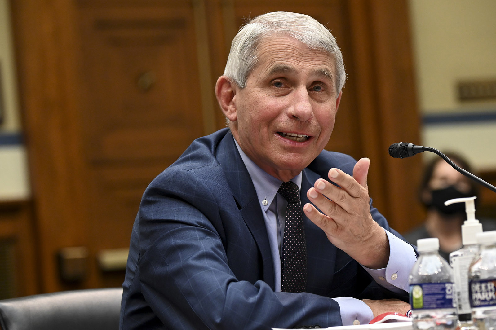 In this July 31 file photo, Dr. Anthony Fauci testifies during a House Select Subcommittee on the Coronavirus Crisis hearing on July 31, in Washington.