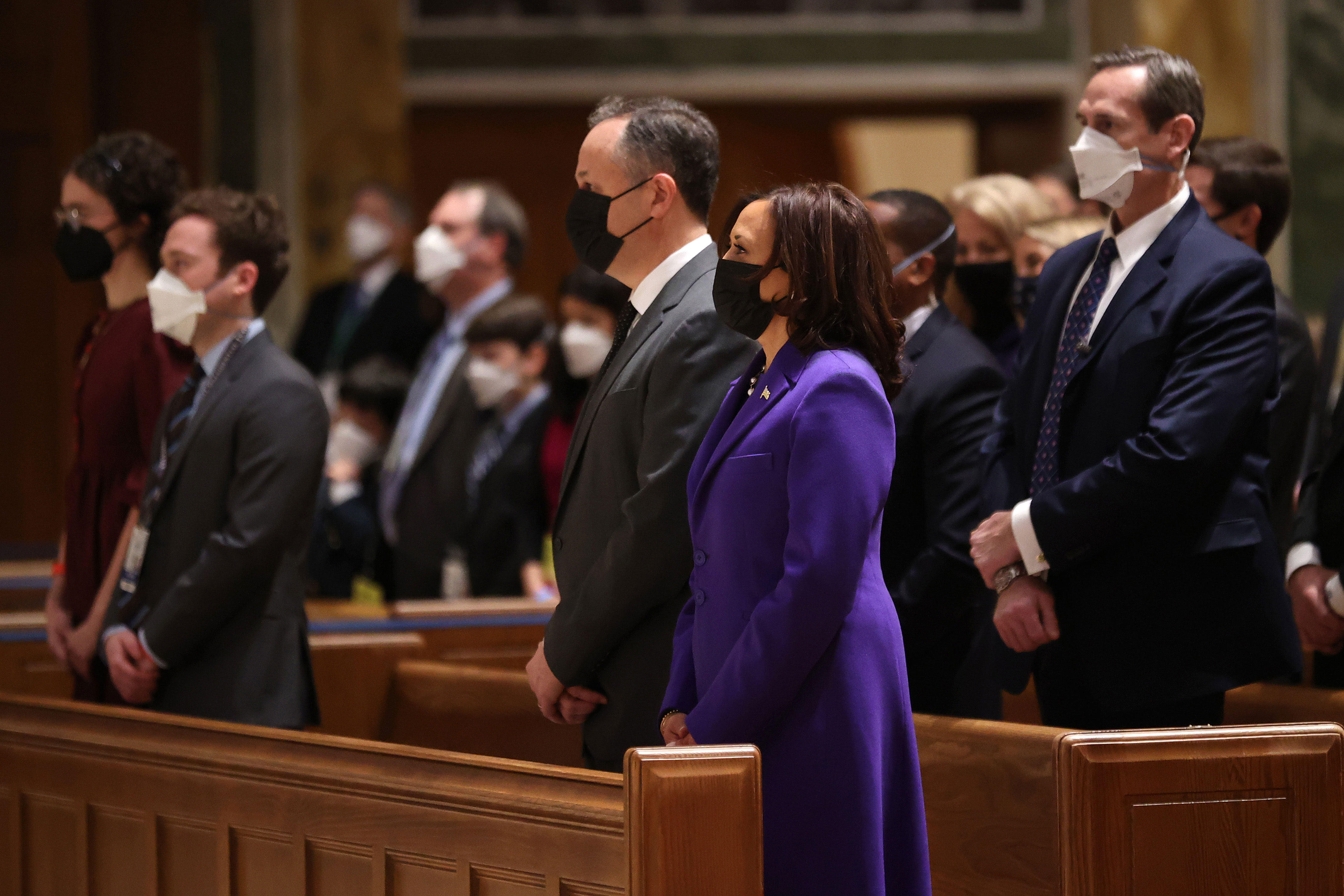 Vice President-elect Kamala Harris and her husband Doug Emhoff attend mass at the Cathedral of St. Matthew the Apostle in Washington, DC, with congressional leaders on January 20.