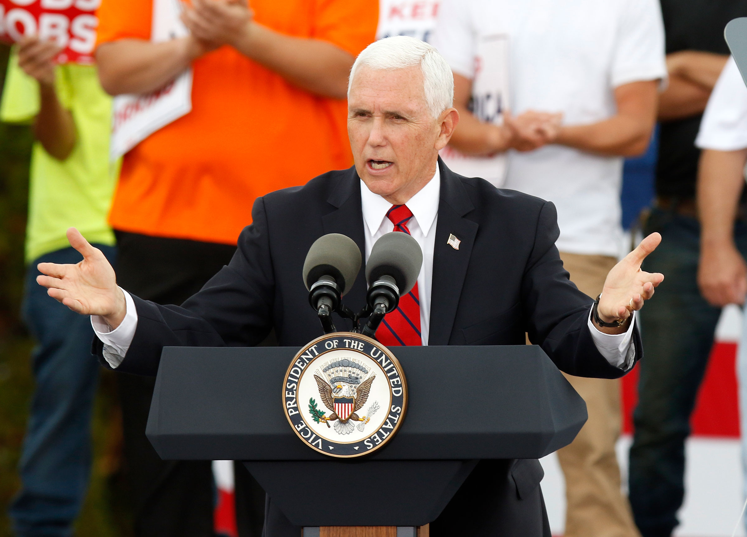 Vice President Mike Pence speaks at a campaign rally in Columbus, Ohio, on October 12.