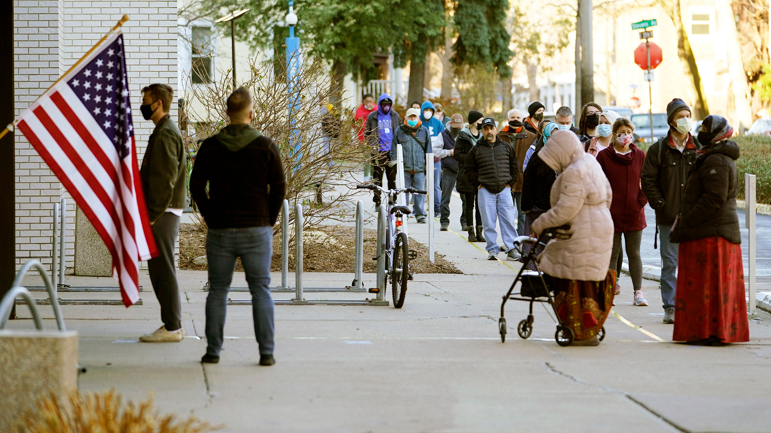 Voters wait to cast their votes on November 3 at the Minneapolis College of Art and Design in Minnesota.