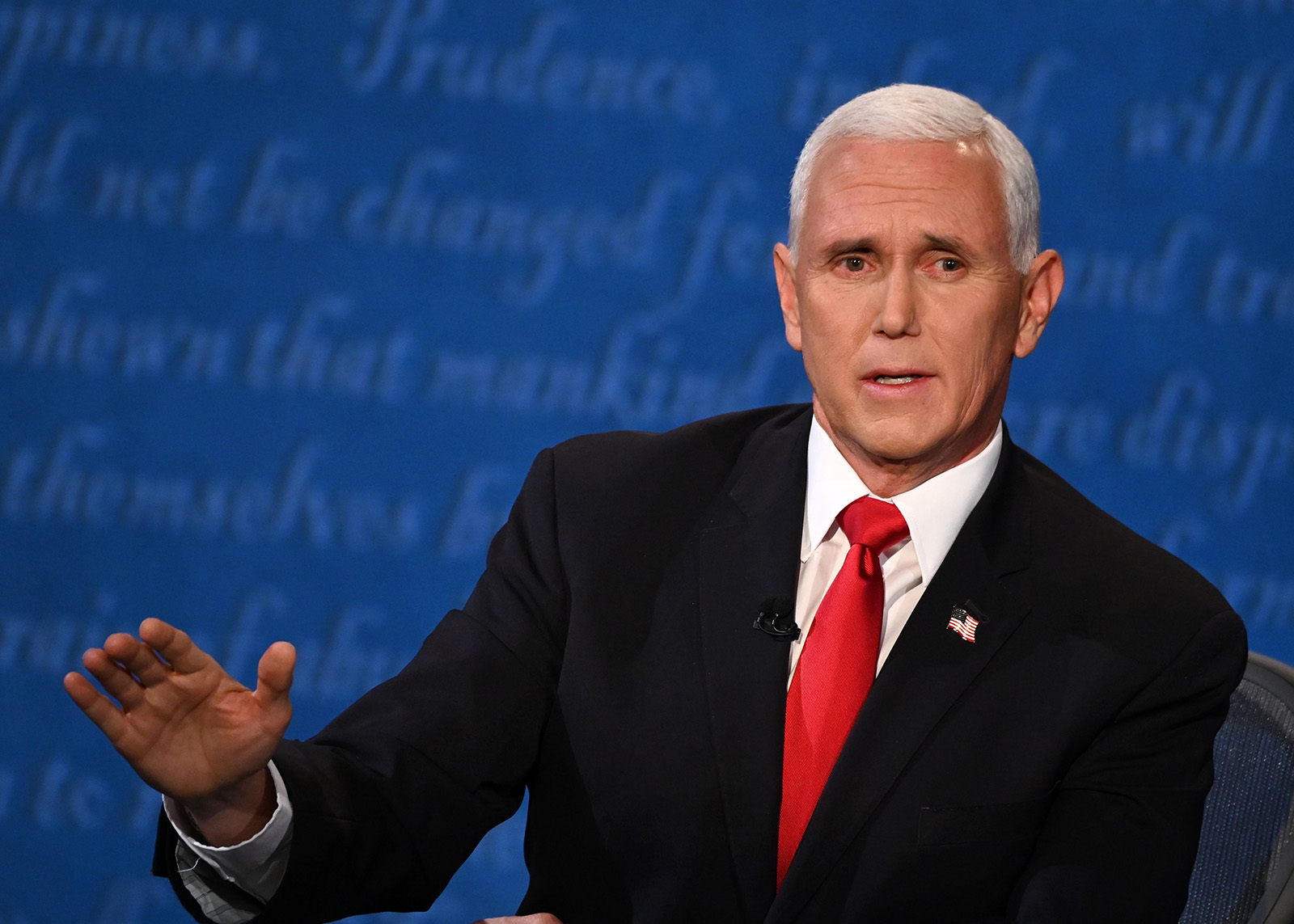 Vice President Mike Pence speaks during the vice presidential debate on Wednesday in Salt Lake City.
