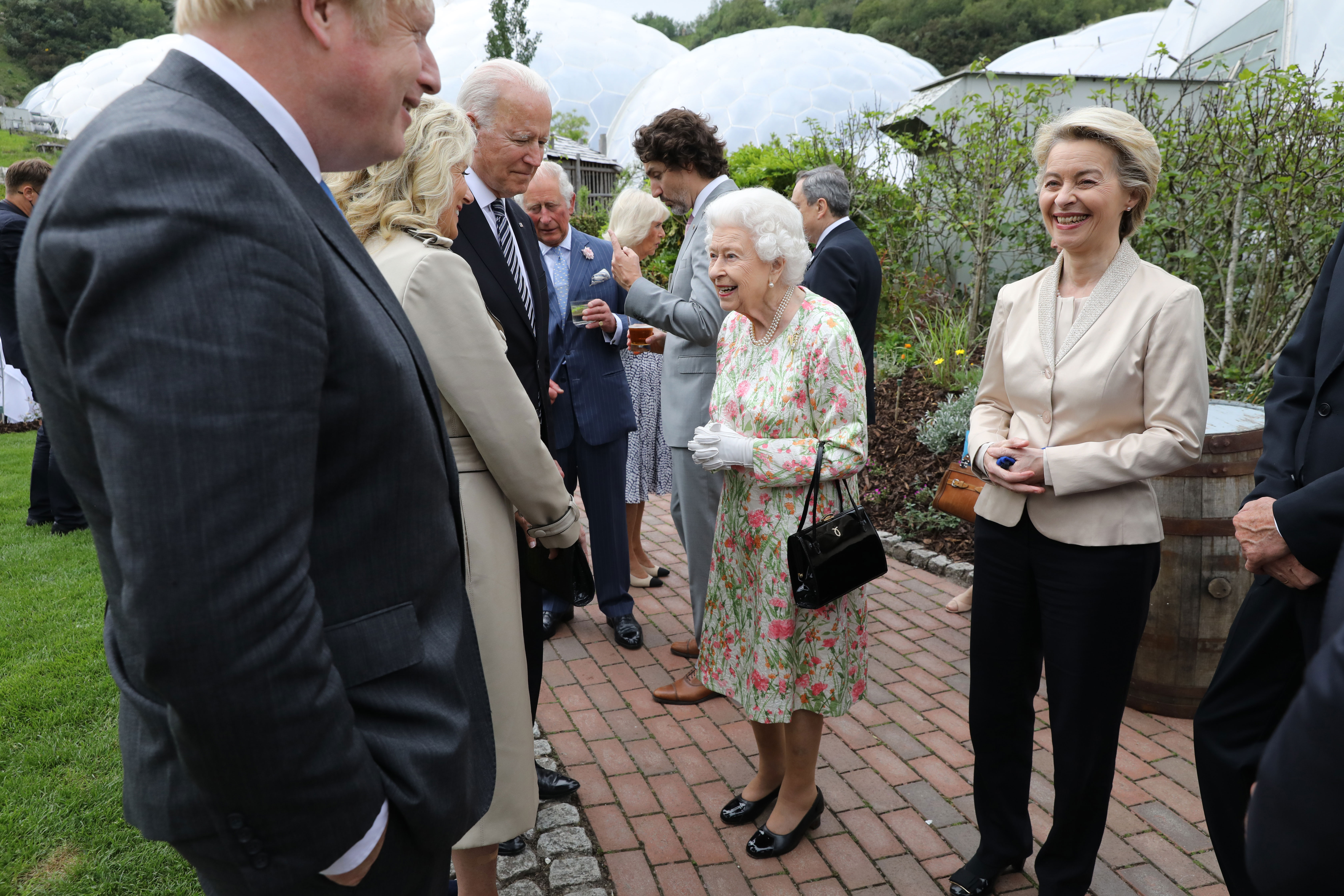 World leaders and Queen Elizabeth II attend a reception at the Eden Project in England on June 11.