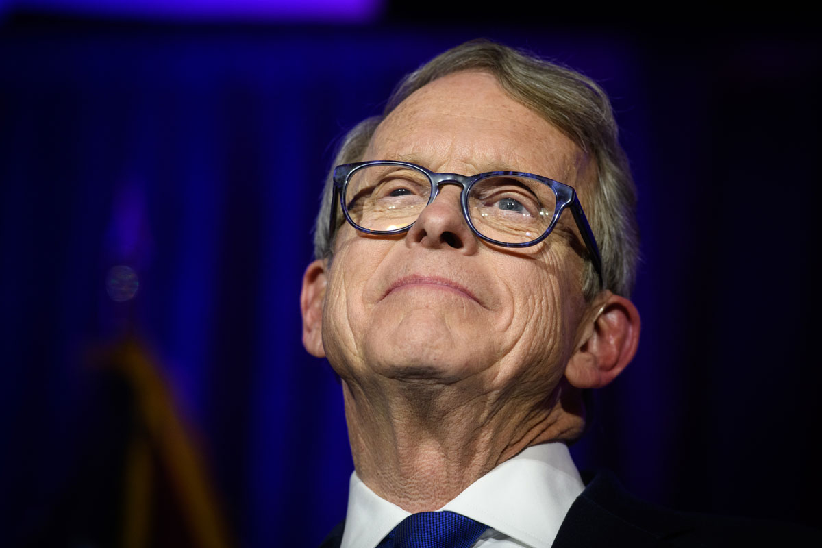 In this November 6, 2018 file photo, Ohio Governor Mike DeWine gives his victory speech after winning the gubernatorial race at the Ohio Republican Party's election night party at the Sheraton Capitol Square.