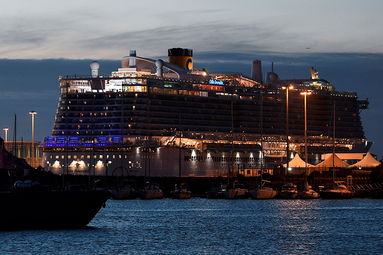 The Costa Smeralda cruise ship docked atthe Civitavecchia port, north of Rome, on January 30.