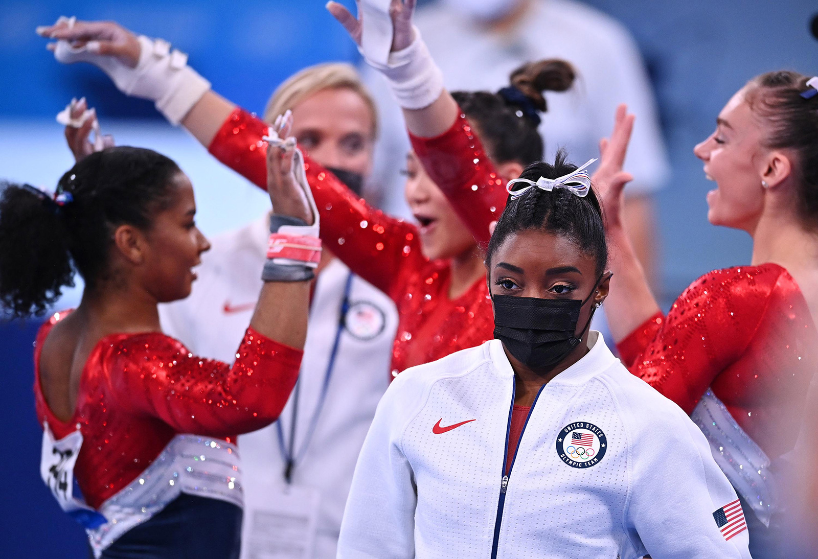 US gymnastSimone Bileswears her warm-up gear aftershe pulled out of the team all-around competitionon Tuesday, July 27.