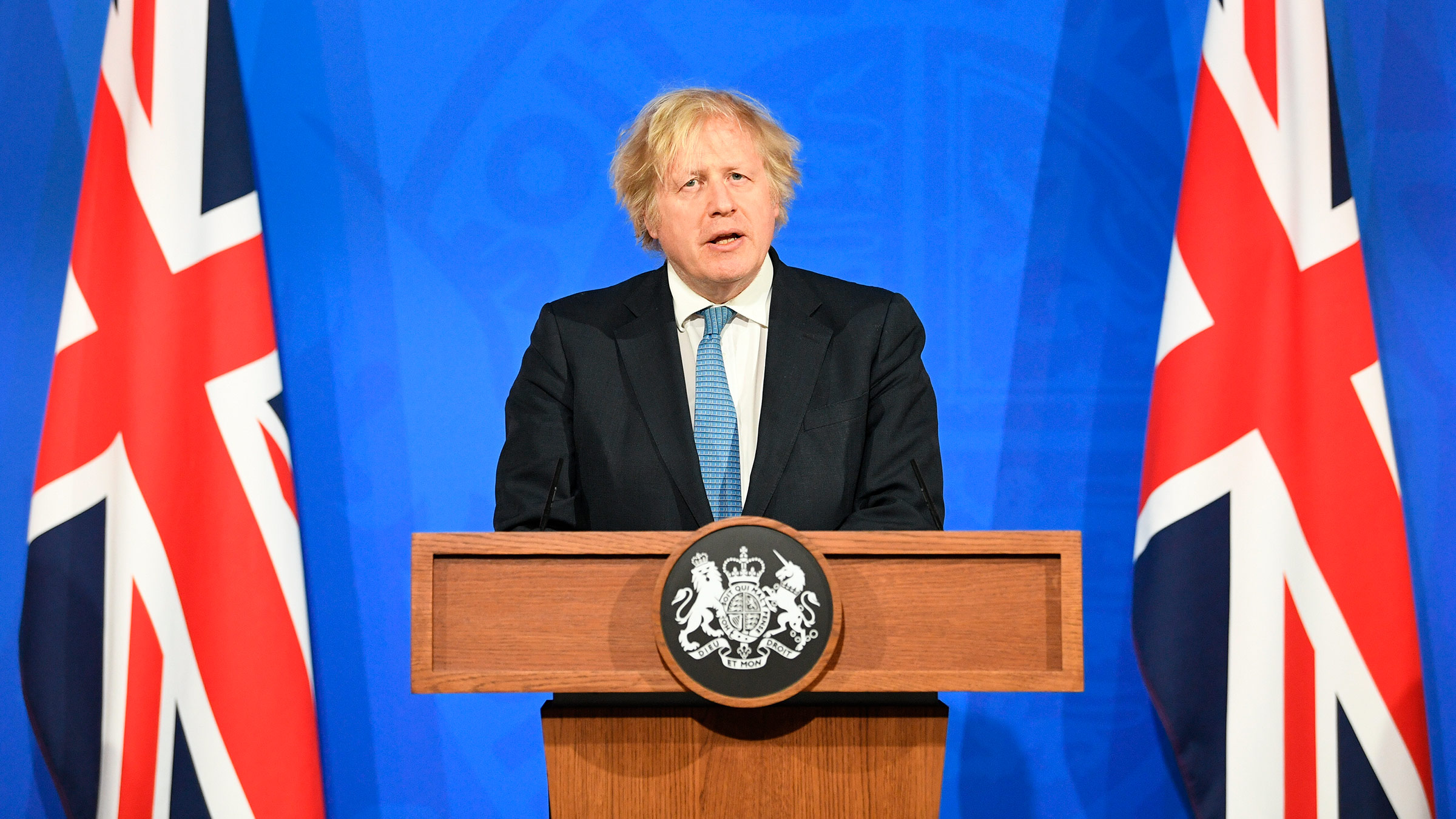 Prime Minister Boris Johnson speaks during a media briefing in Downing Street, London, on Monday, April 5.