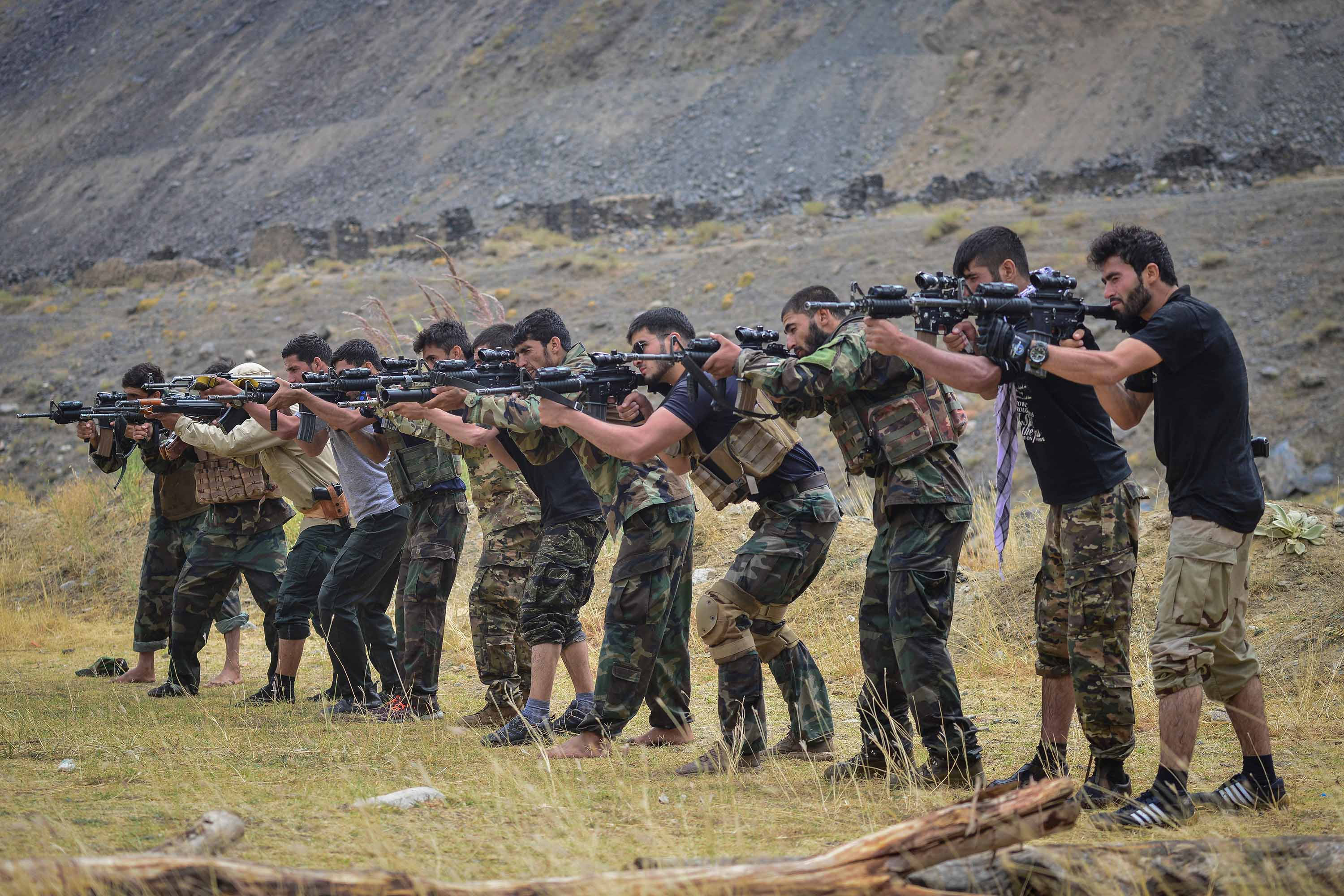Afghan resistance movement forces take part in a military training in Panjshir province on August 30.