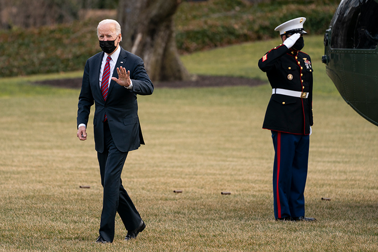 President Joe Biden arrives at the White House after visiting wounded troops and touring a COVID-19 vaccine center at Walter Reed National Military Medical Center, Friday, Jan. 29, 2021, in Washington.