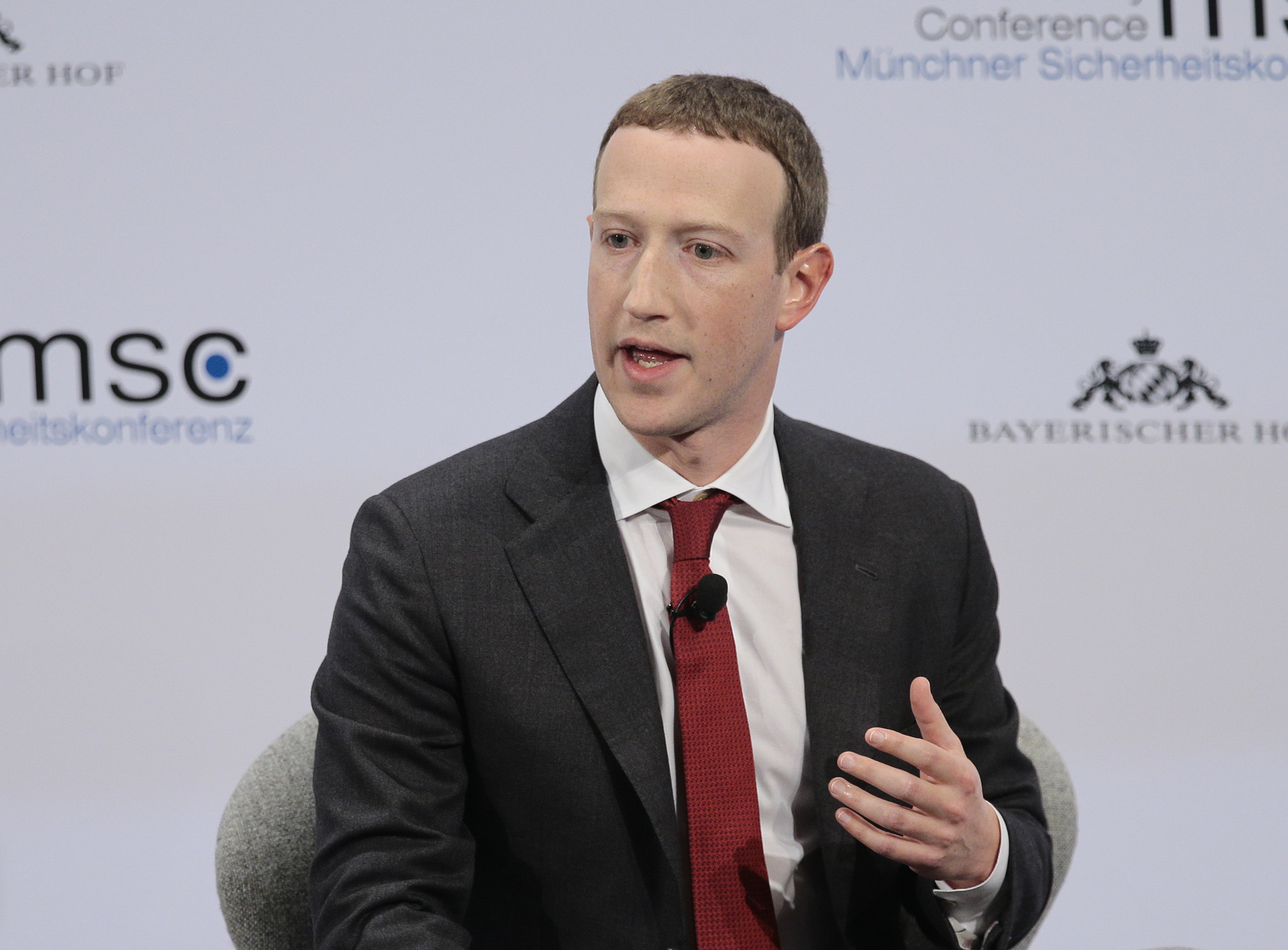 Founder and CEO of Facebook Mark Zuckerberg speaks during the 56th Munich Security Conference in Munich, Germany on February 15.