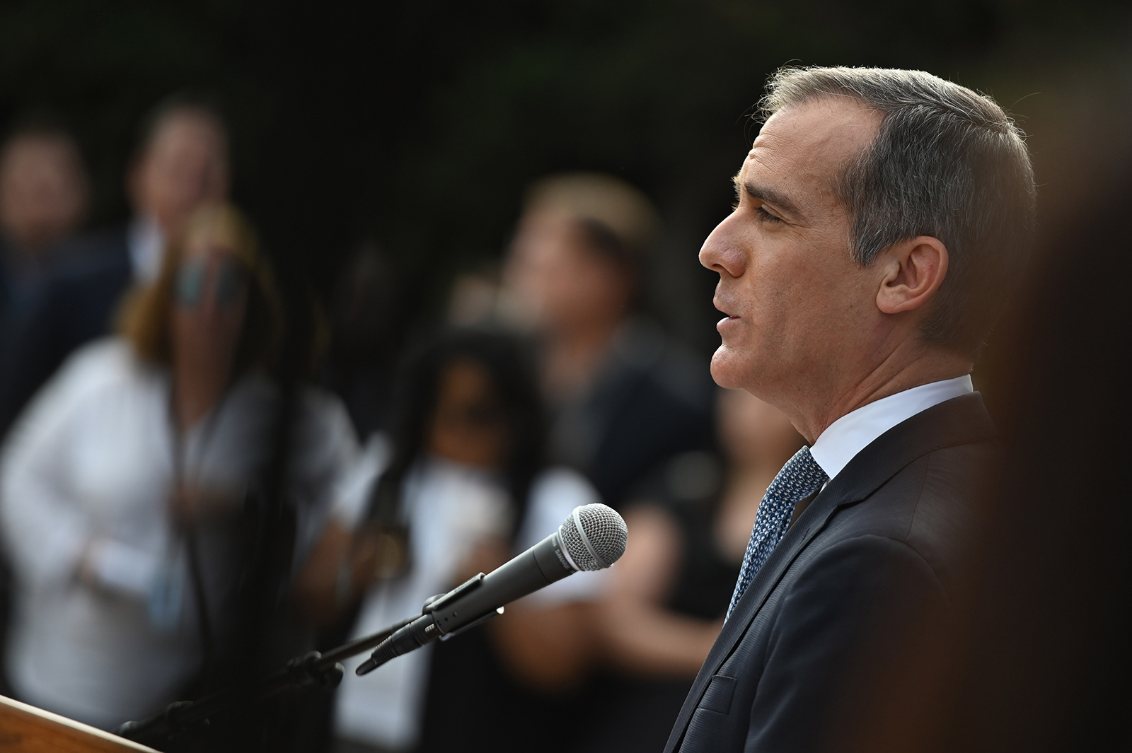 Los Angeles Mayor Eric Garcetti speaks during a press conference on the novel coronavirus, on March 4, in Los Angeles.