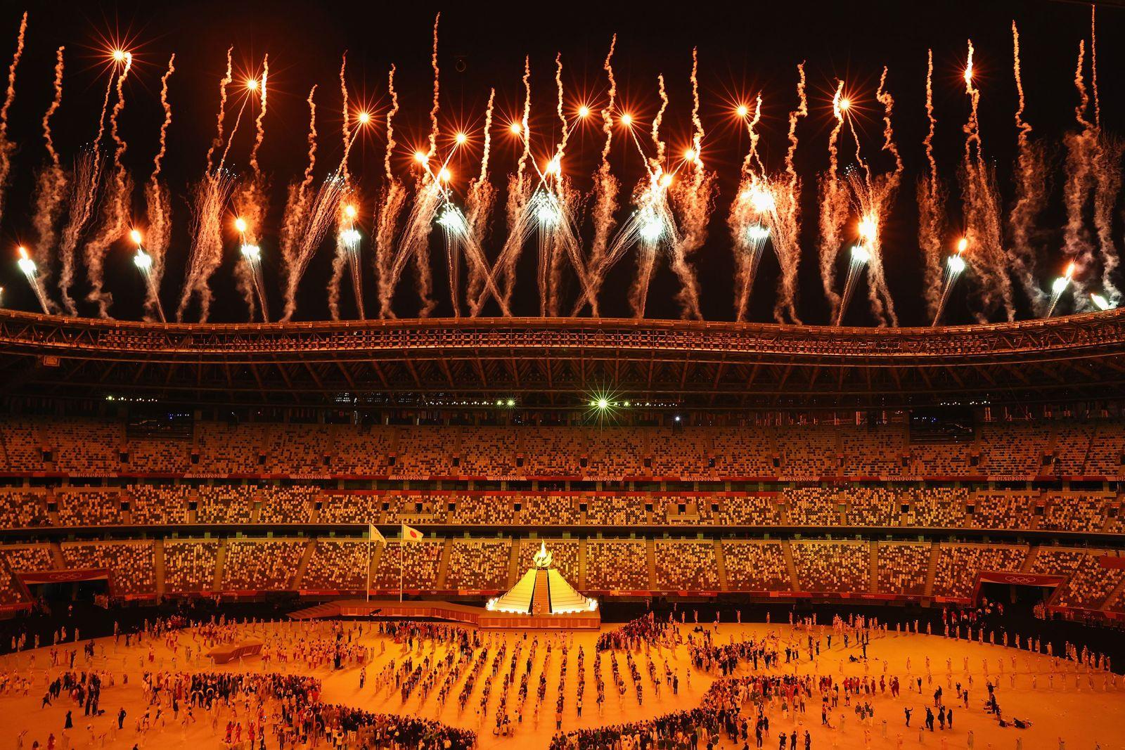 Fireworks go off after Naomi Osaka lit the Olympic cauldron.