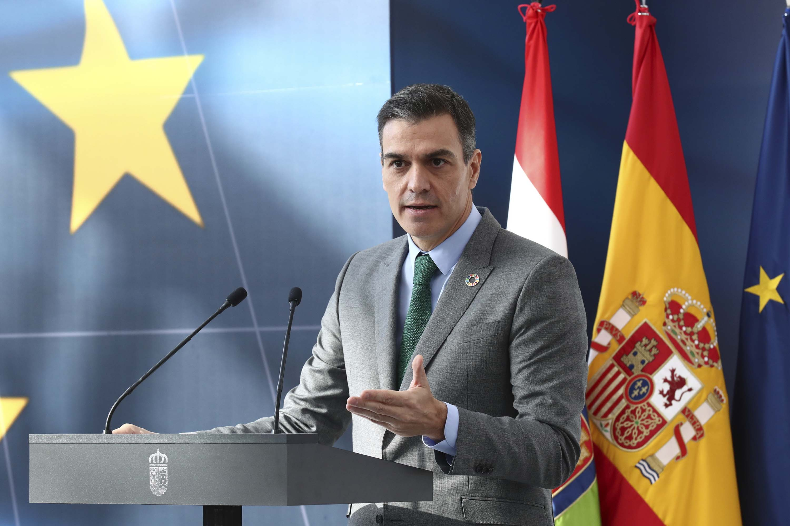 Spanish Prime Minister Pedro Sanchez speaks in Agoncillo, Spain, on Friday, November 20.