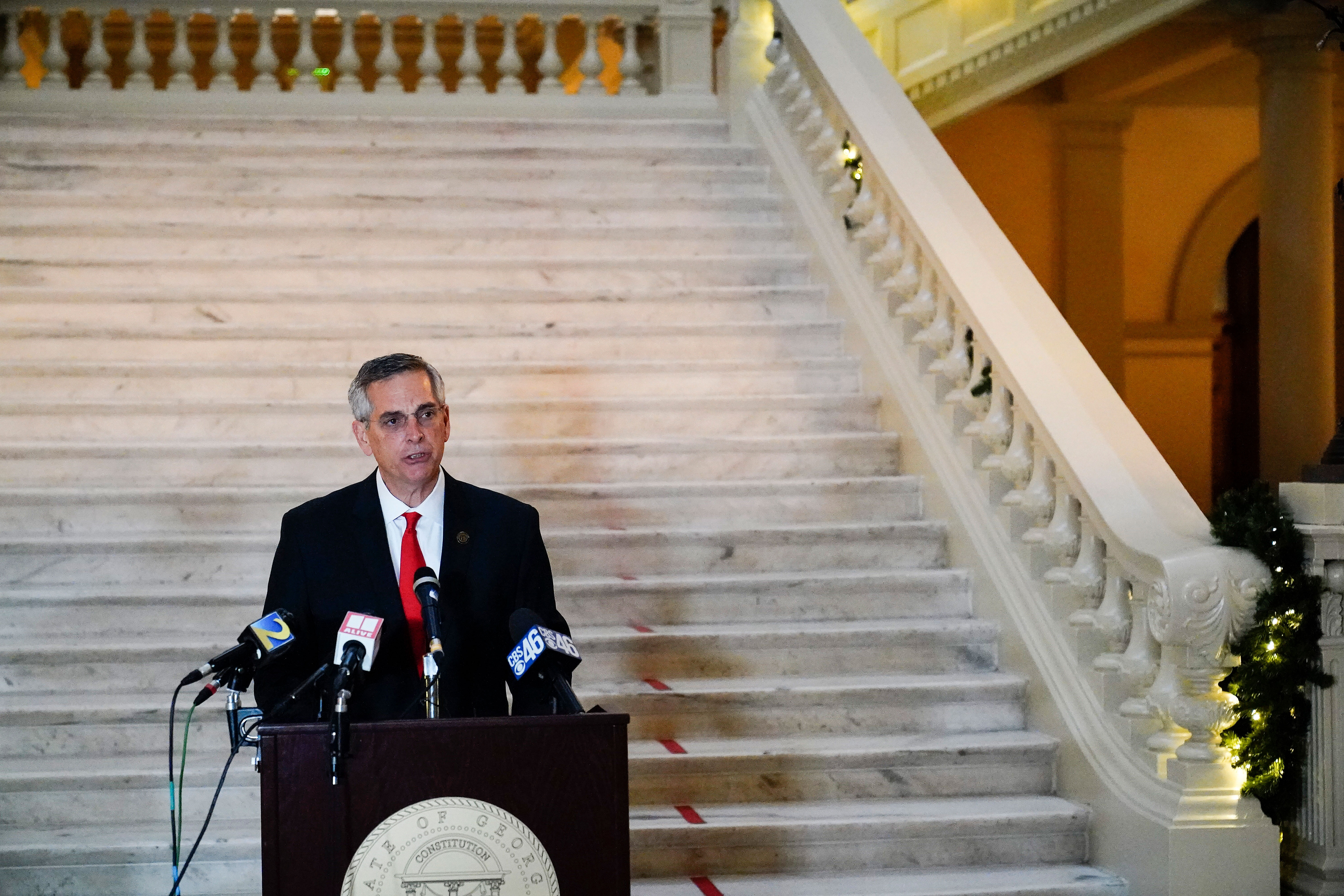 Georgia Secretary of State Brad Raffensperger speaks during a news conference in Atlanta on November 30.