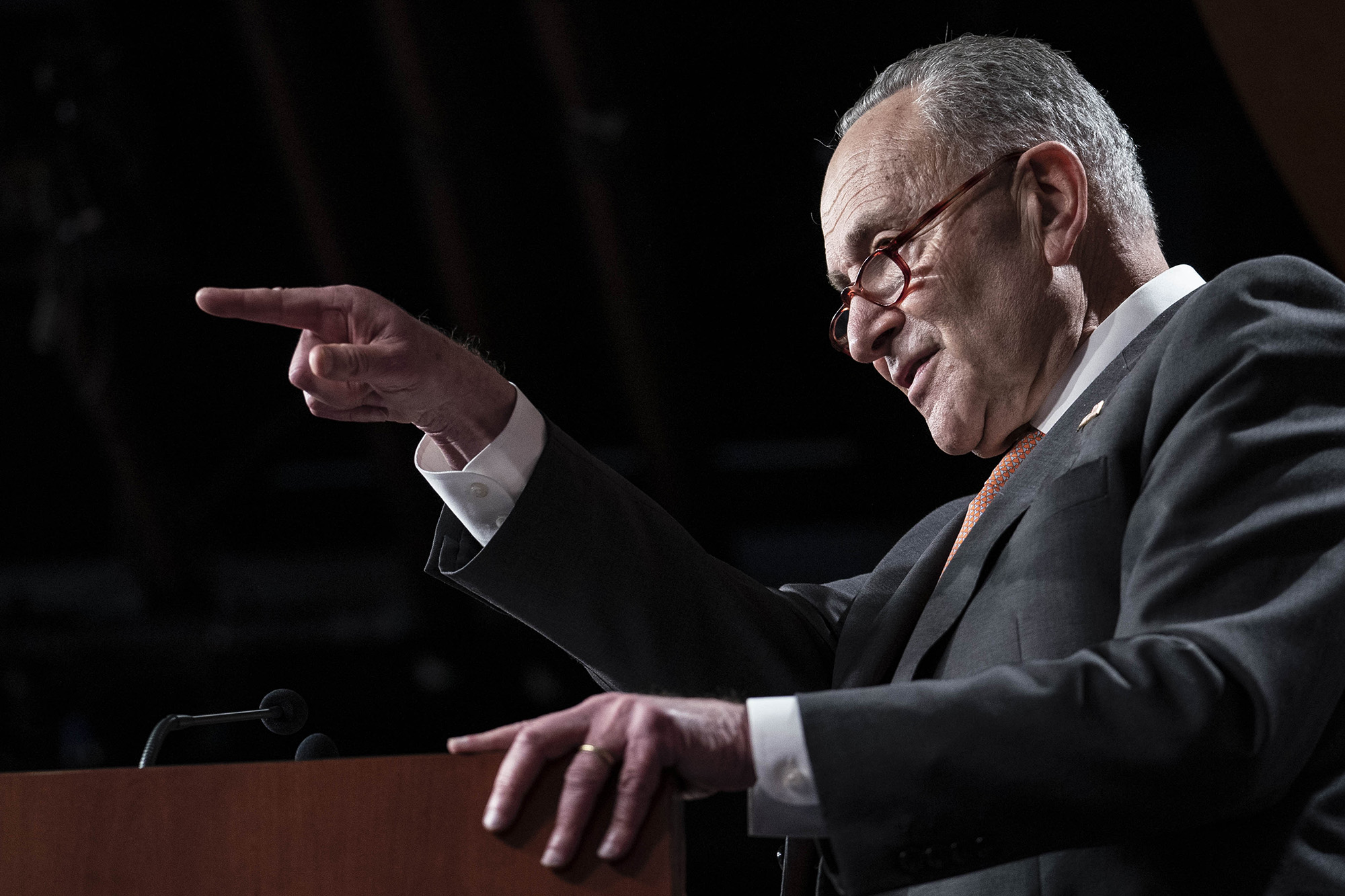 Senate Minority Leader Chuck Schumer, speaks during a news conference at the U.S. Capitol in Washington DC, on Tuesday, December 8.