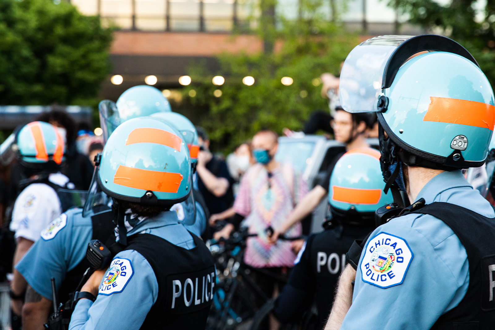 Chicago Police Department officers gather as curfew nears during a demonstration on June 6, in Chicago.