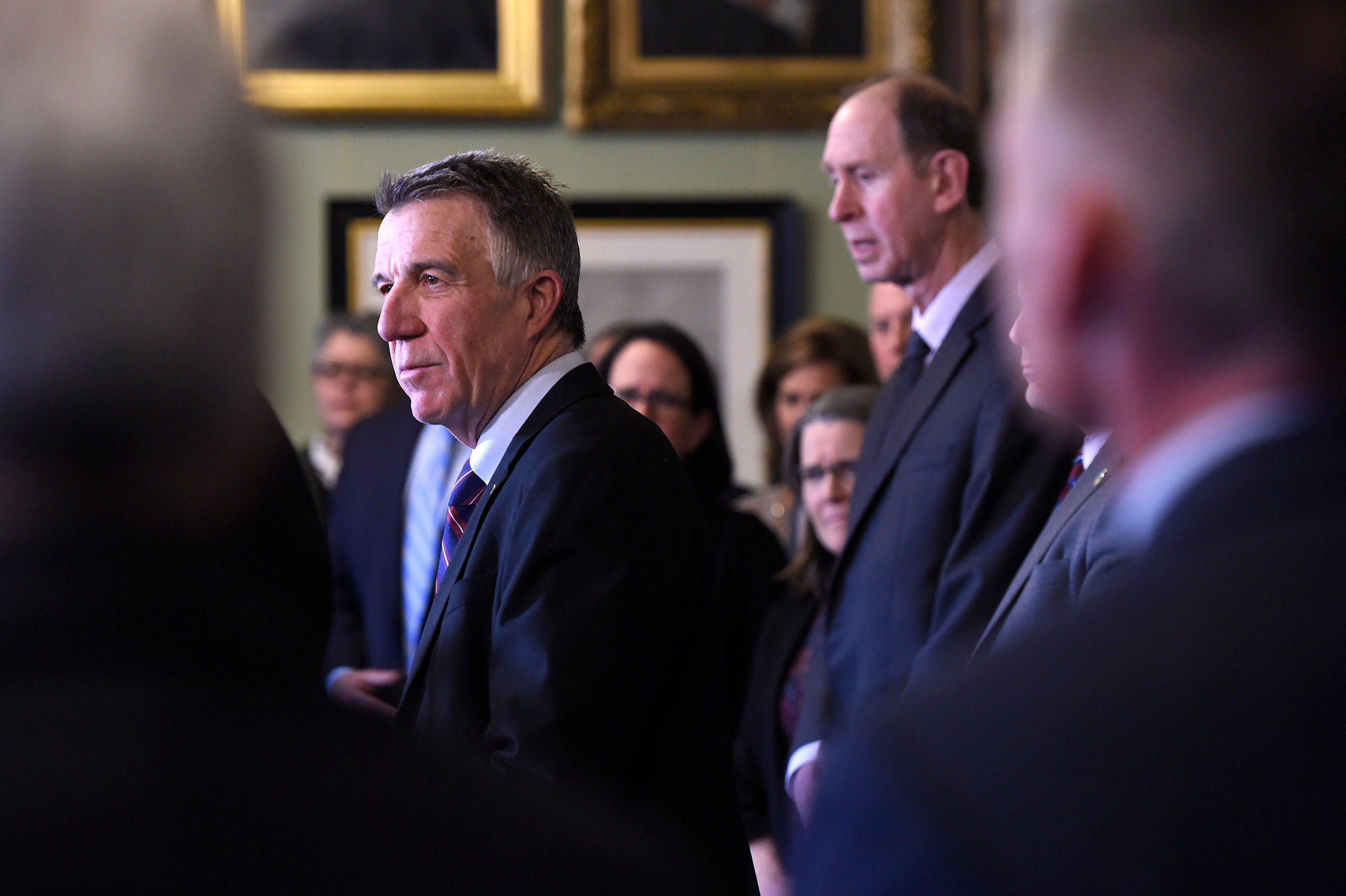 Vermont Gov. Phil Scott holds a press conference to address the coronavirus outbreak on Friday, March 13, in Montpelier, Vermont.