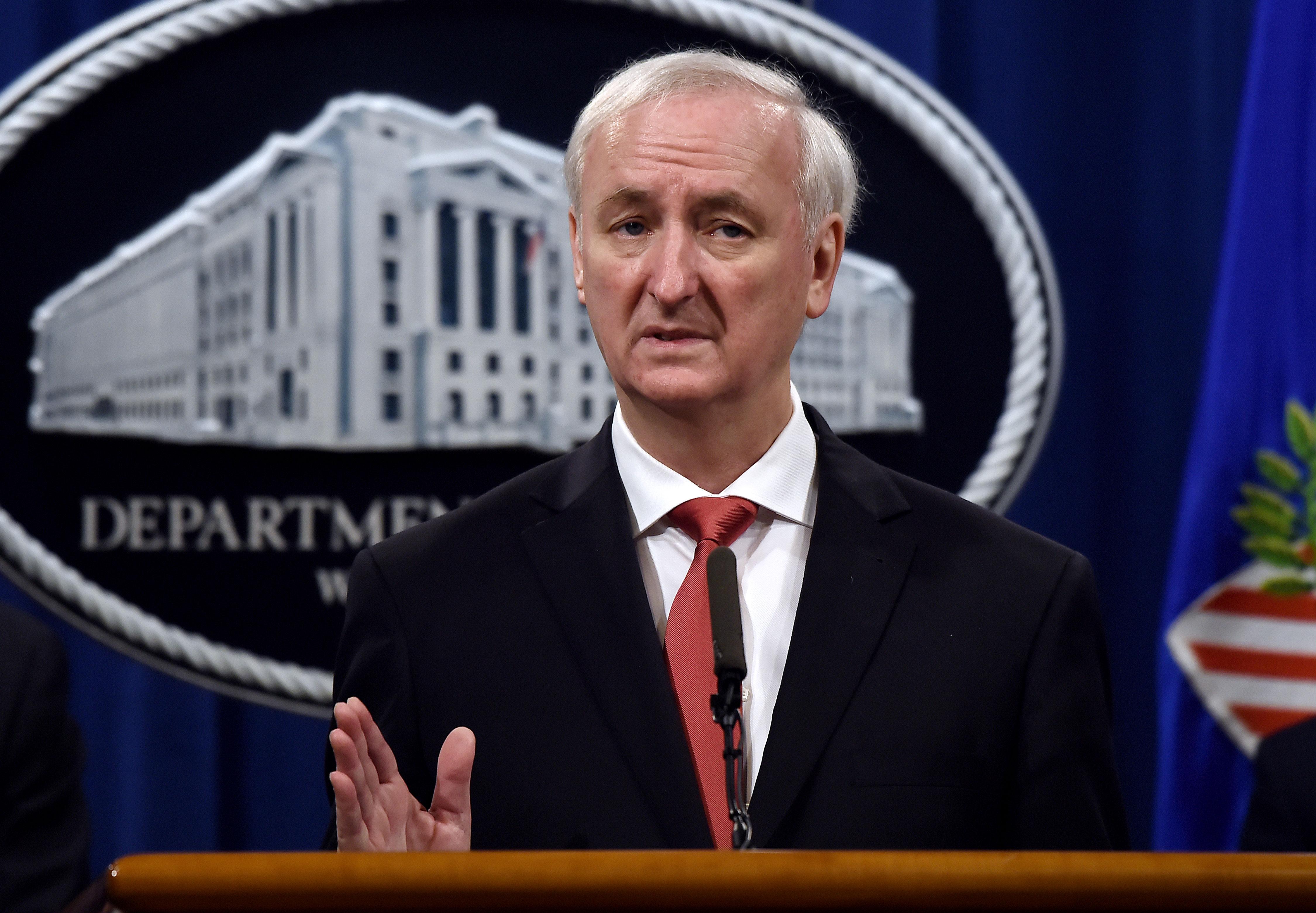Then-Deputy Attorney General Jeffrey Rosen speaks at a press conference in Washington, DC, on September 22, 2020.