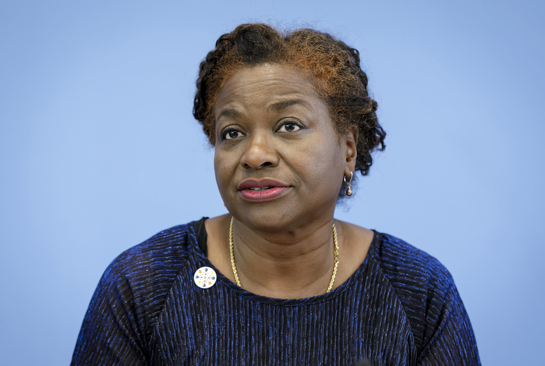 Natalia Kanem, Executive Director of UNFPA, speaks during a news conference on April 10, in Berlin, Germany.